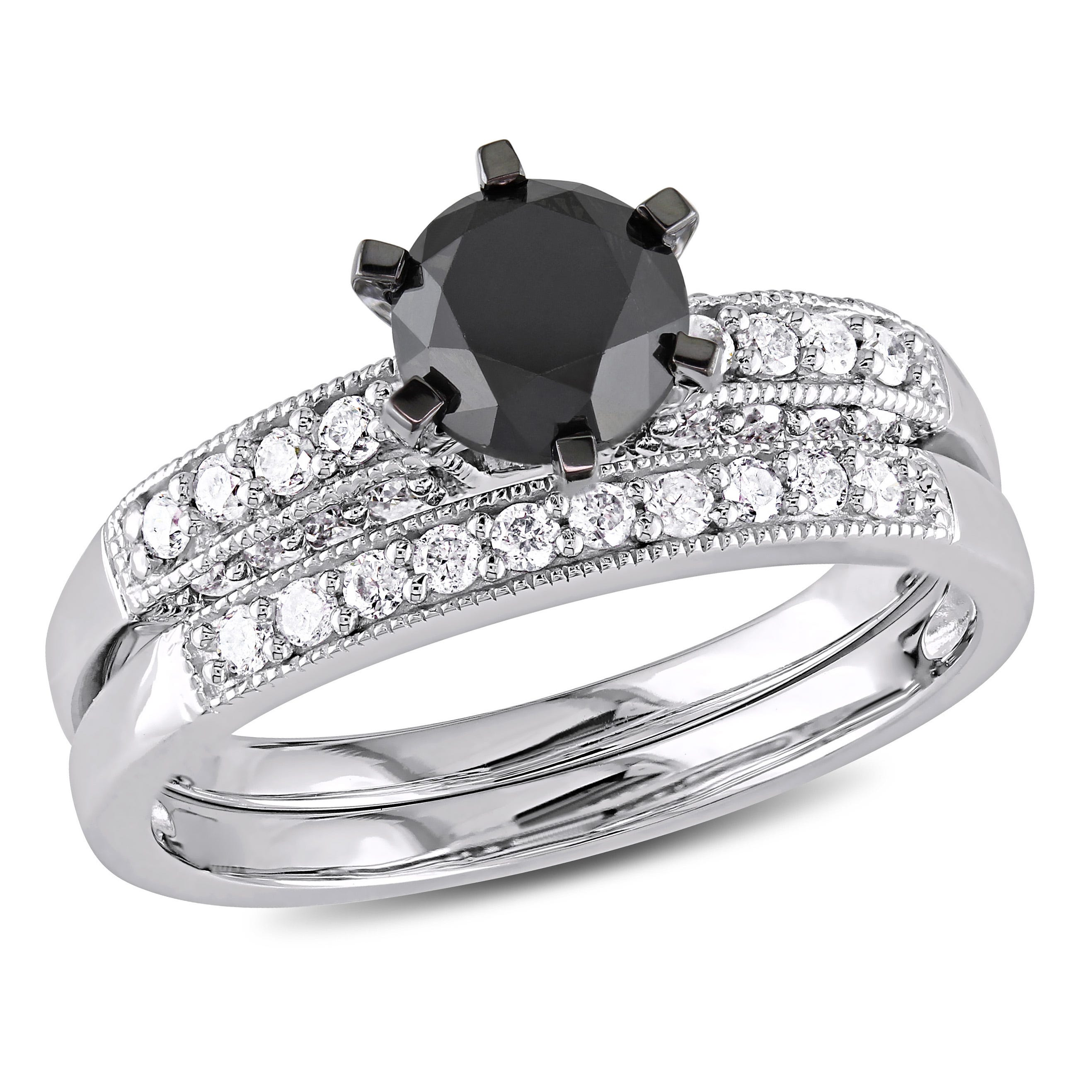 Round Black & White Diamond Engagement Ring + Band 1-1/3ctw. in White Gold