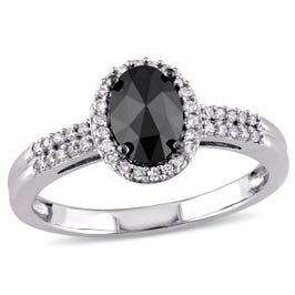 Oval Black Diamond 1ctw. Engagement Ring in 14k White Gold