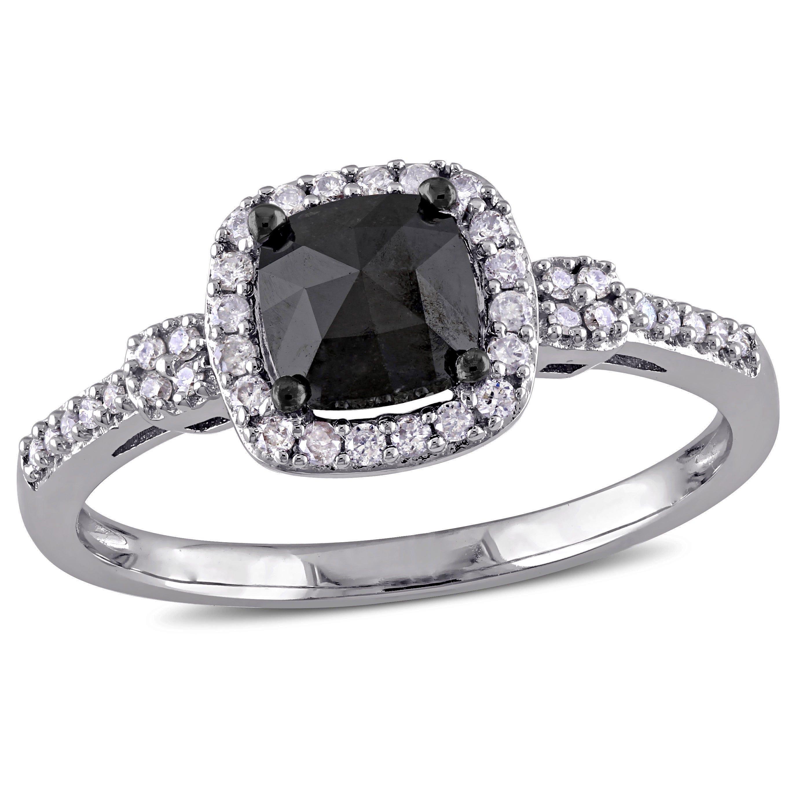 Cushion-Cut Black & White Diamond Halo 1ctw. Engagement Ring in 14k White Gold