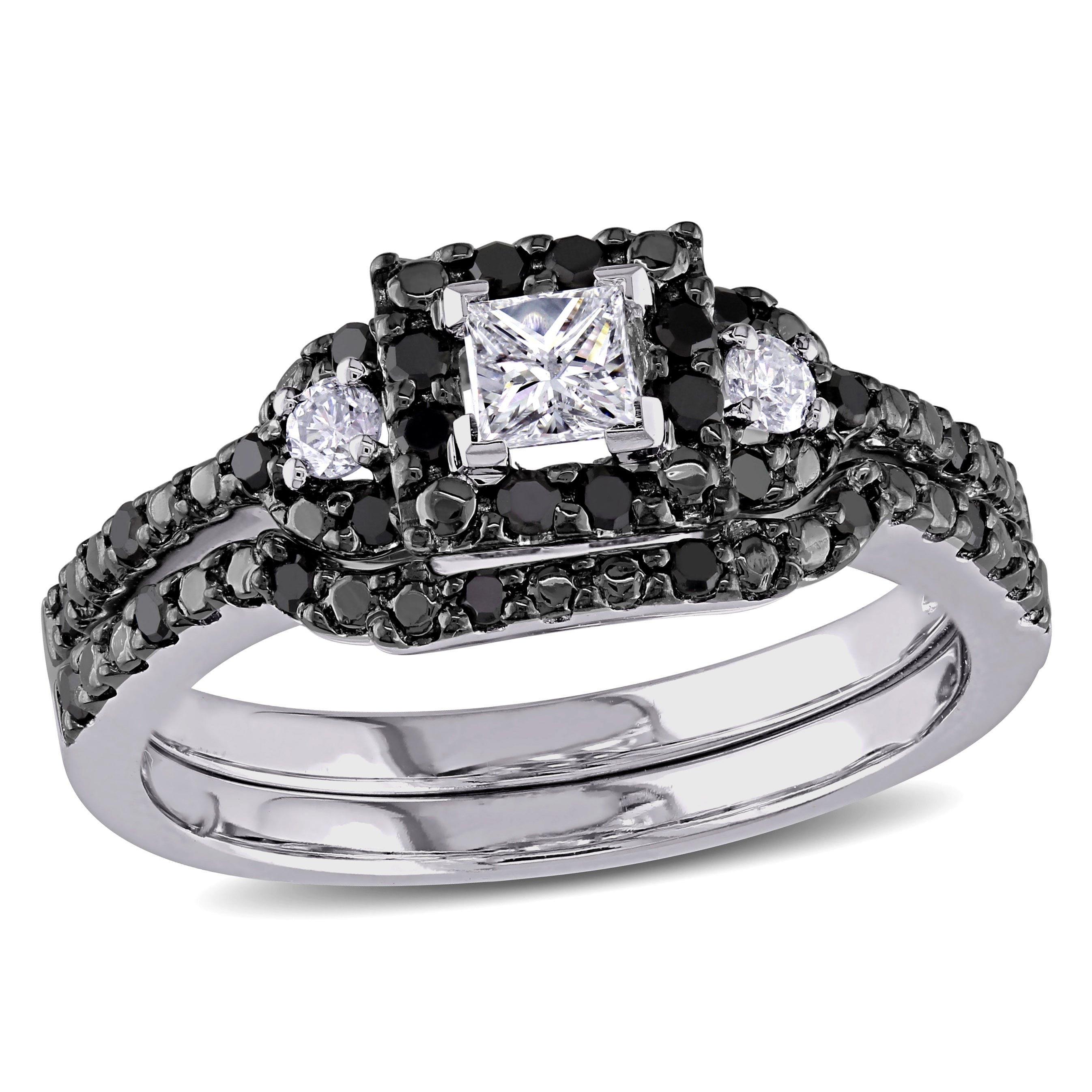 Princess-Cut Black Diamond & Diamond Halo 1/2ctw. Engagement Ring + Matching Band
