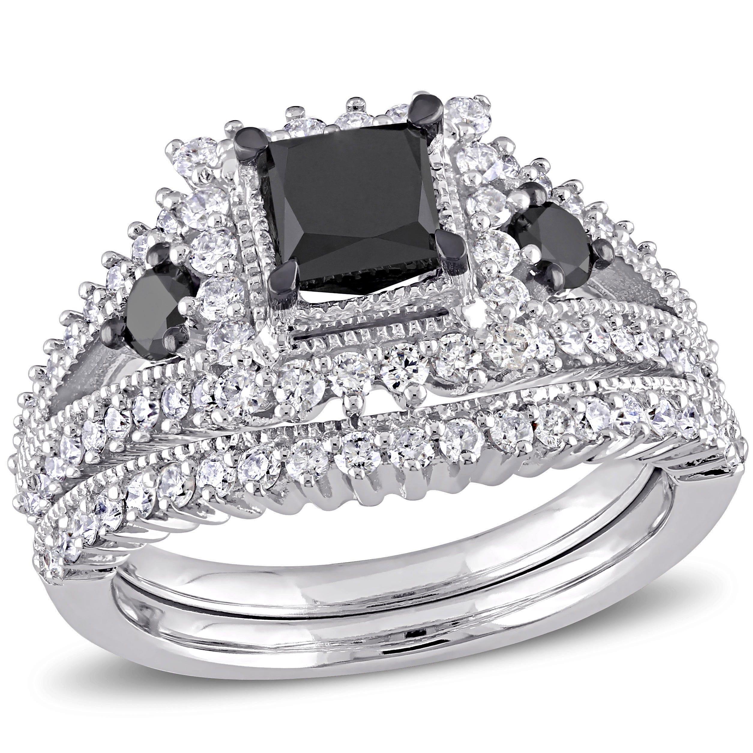 Black Princess-Cut Diamond With Halo 2ctw. Engagement Ring + Matching Wedding Band