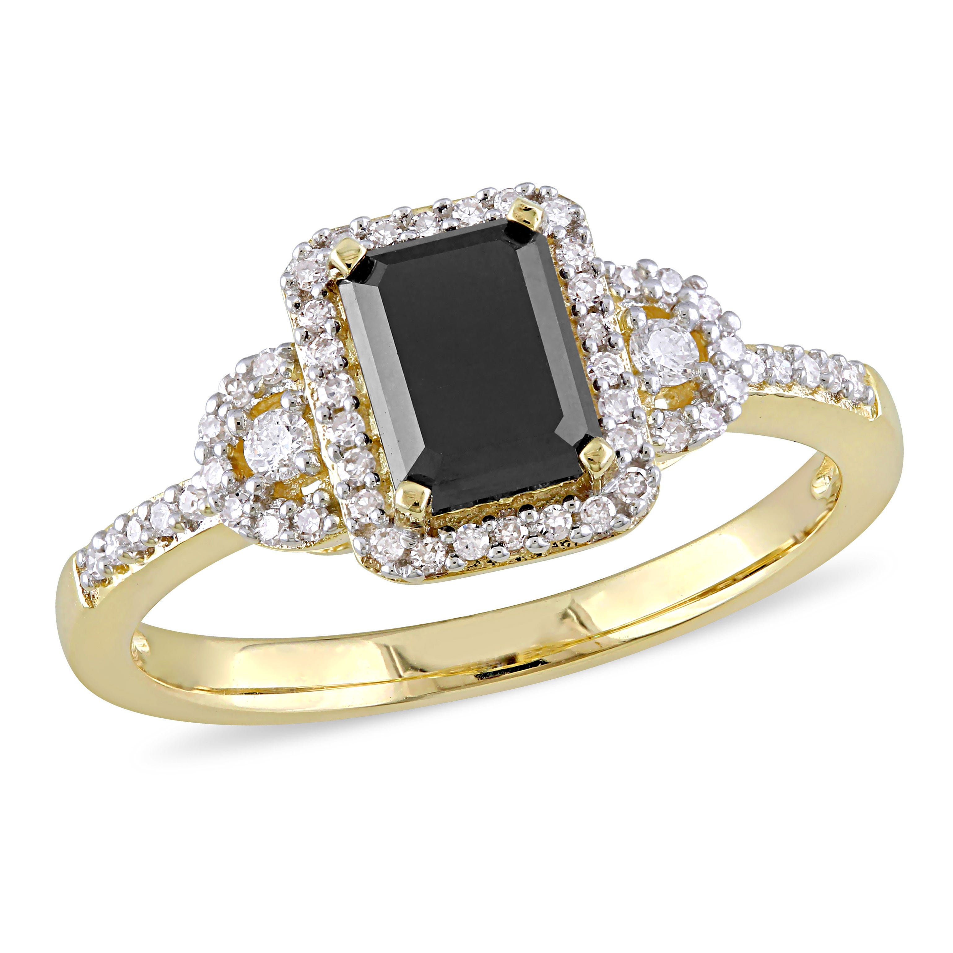 Black Emerald-Cut Diamond Halo 1.20ctw. Engagement Ring in Yellow Gold