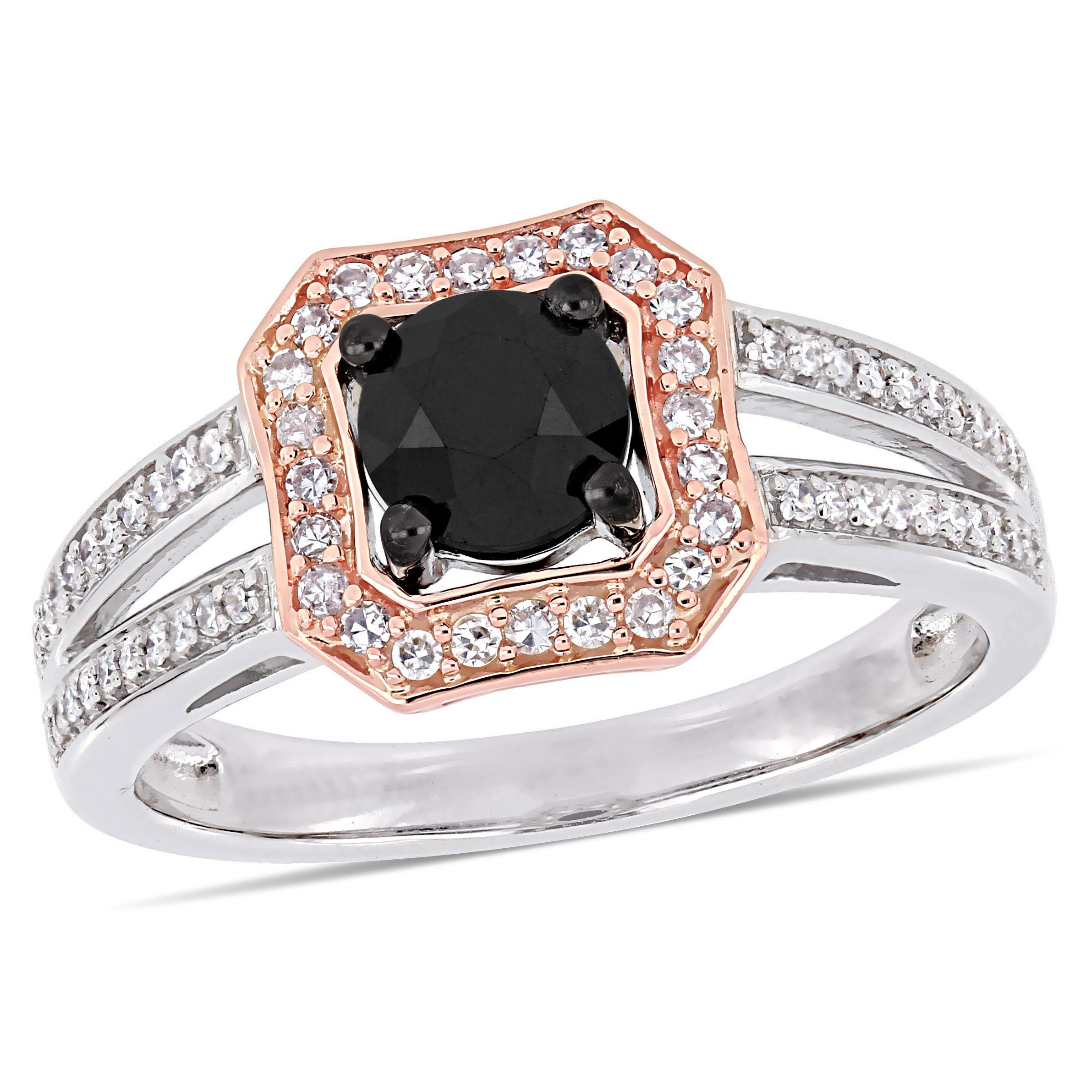 Black Round Diamond & Halo Split Shank 1ctw. Engagement Ring in 14k Rose Gold
