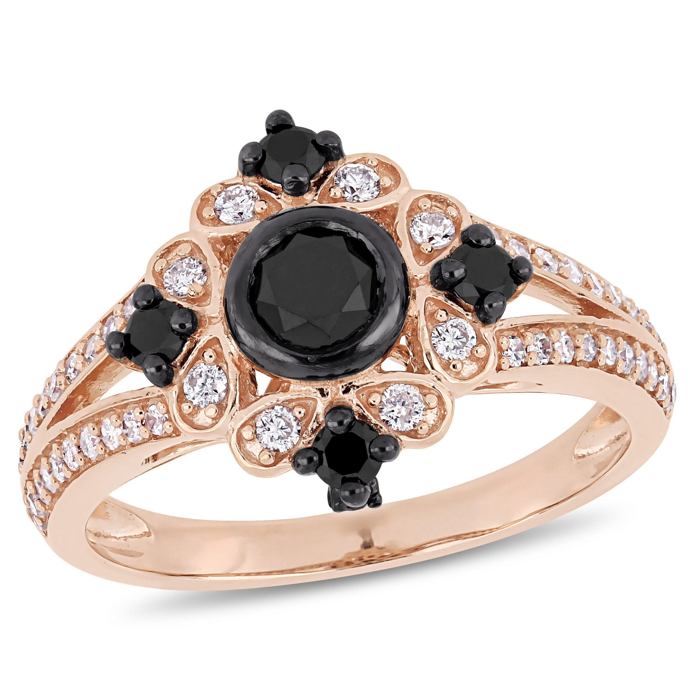 Black Diamond Vintage-Inspired 1ctw. Engagement Ring in Rose Gold