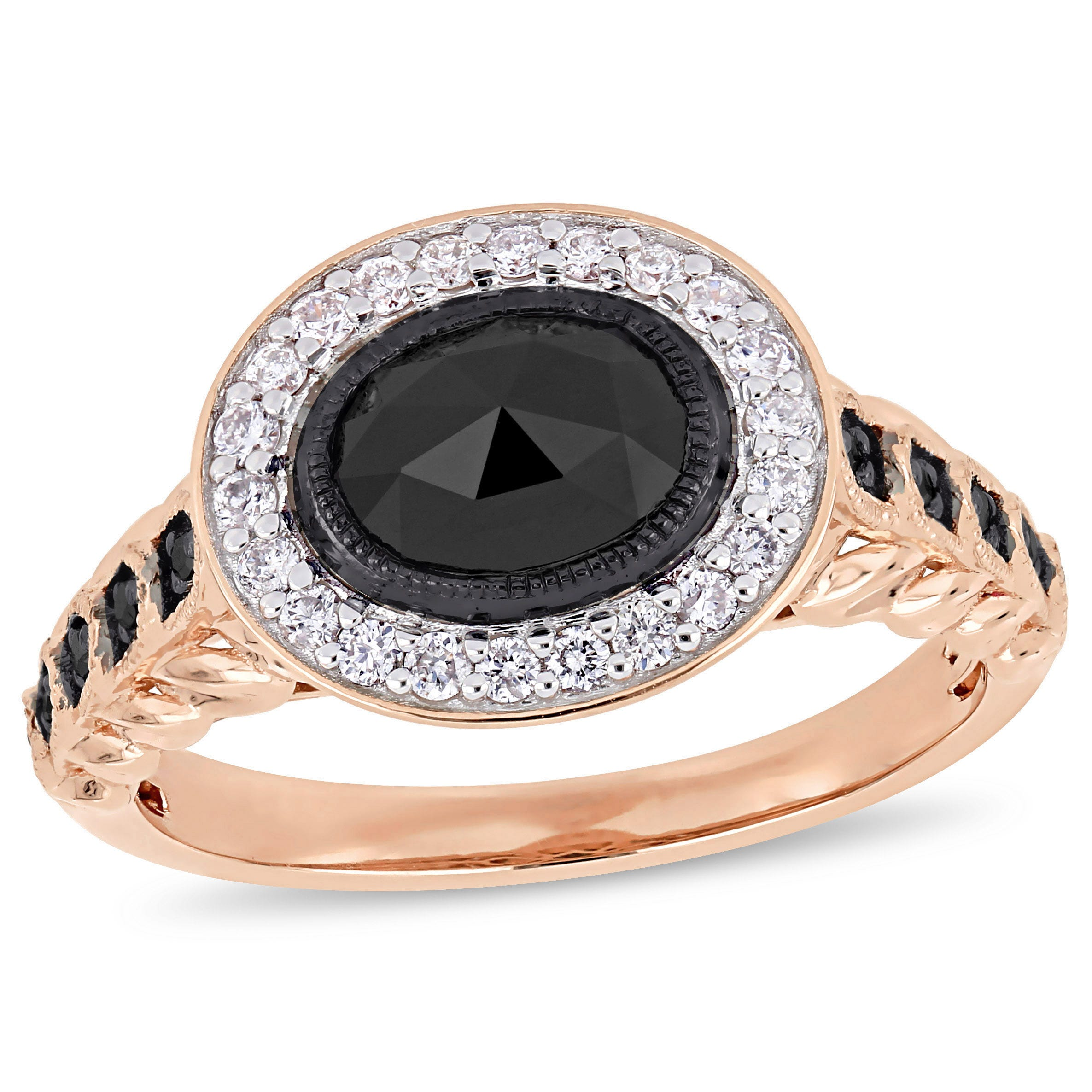 Black Oval Horizontal & Diamond Halo 1.25ctw. Engagement Ring in Rose Gold
