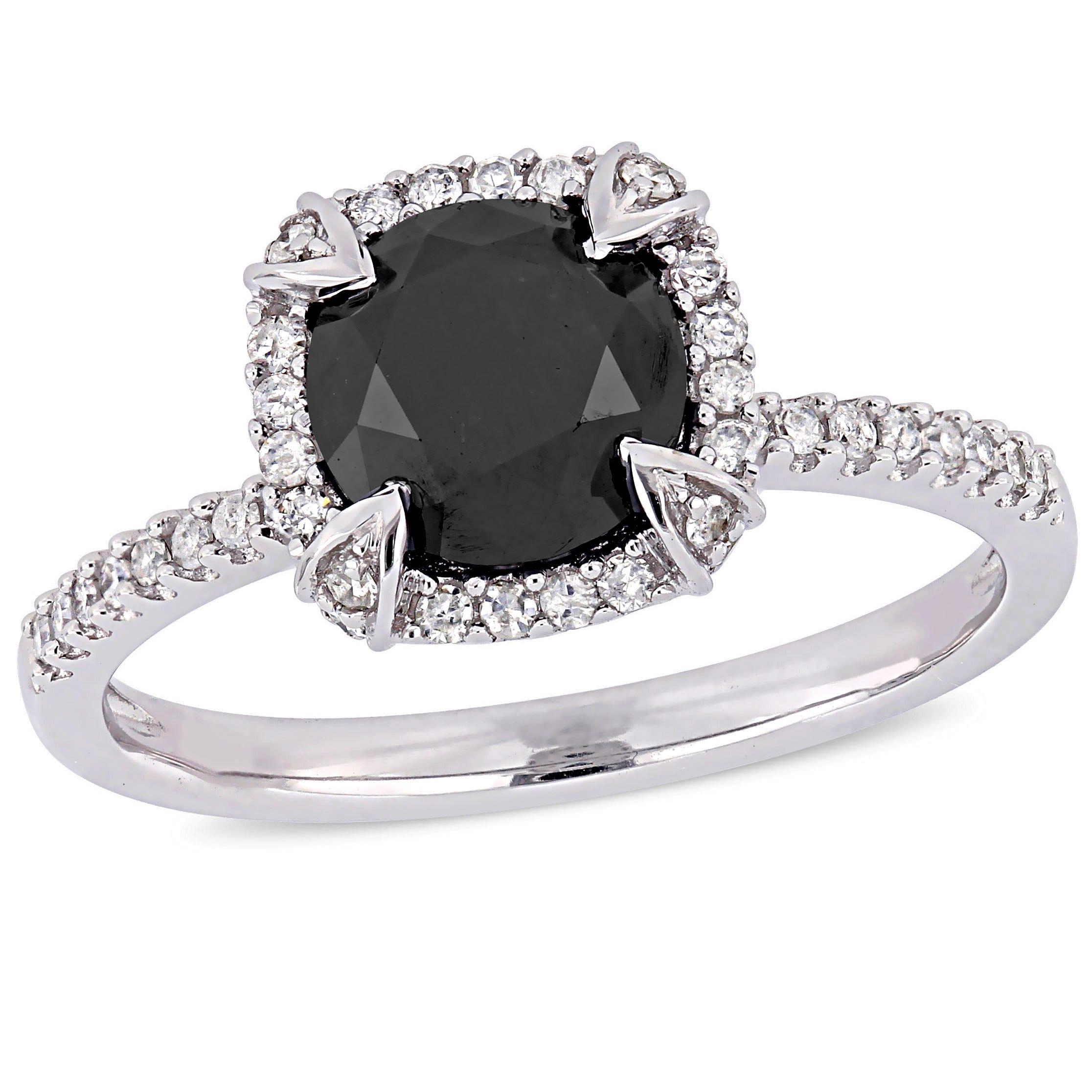 Black Diamond & White Diamond Halo 2ctw. Engagement Ring in White Gold