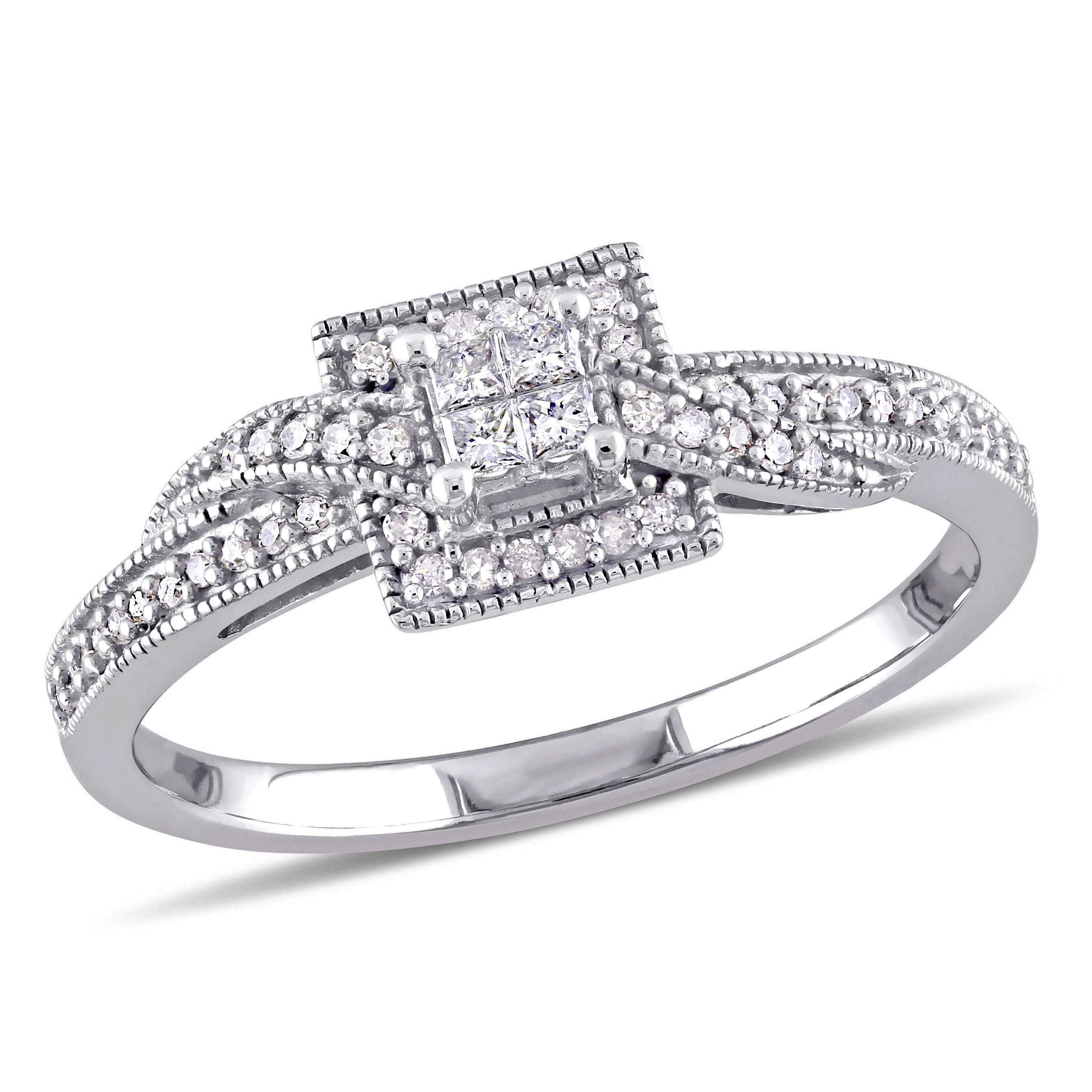 Princess & Round Cut Diamond Halo Crossover Promise Ring 1/4ctw. in 10k White Gold