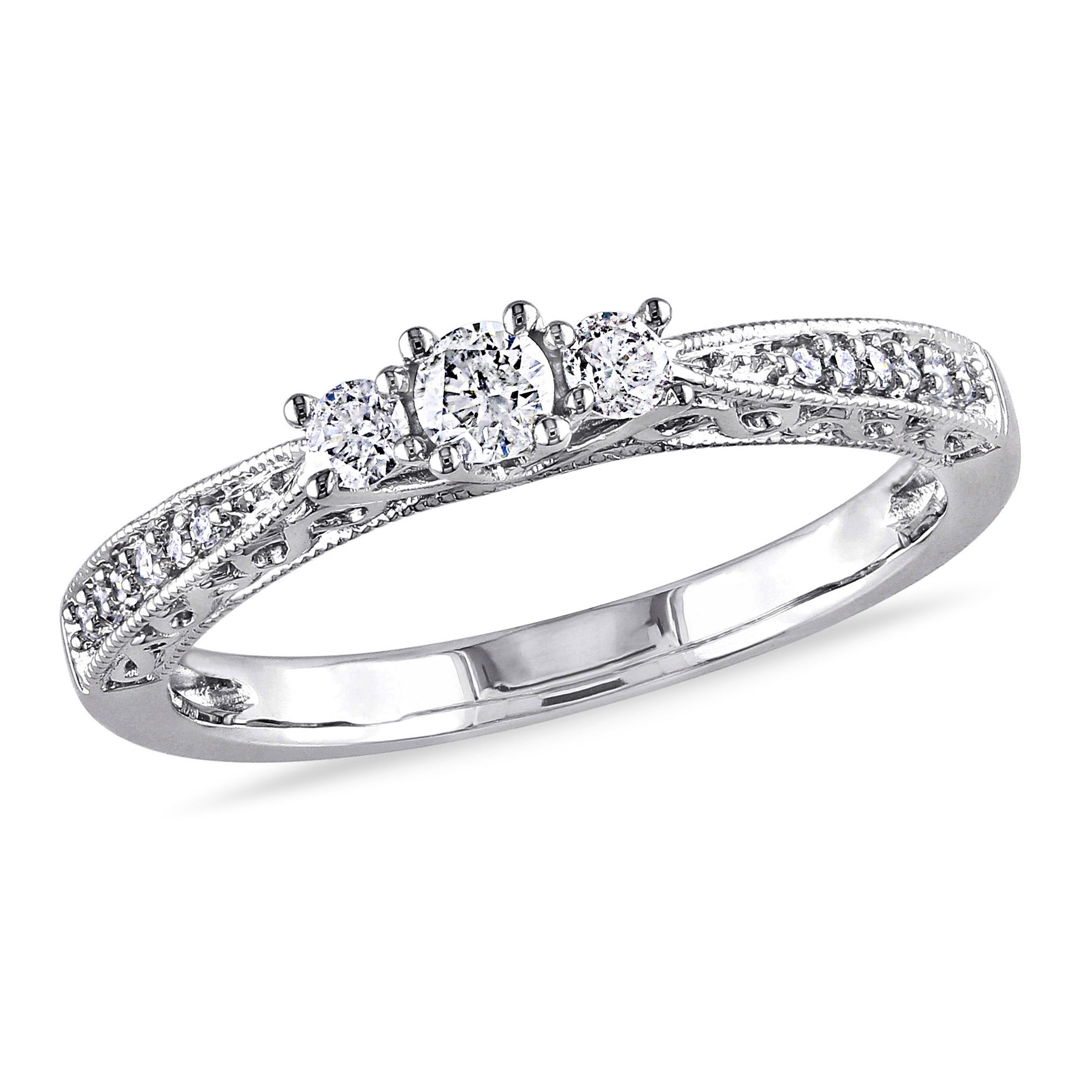 3-Stone Round Cut Diamond Promise Ring 1/4ctw. in 10k White Gold
