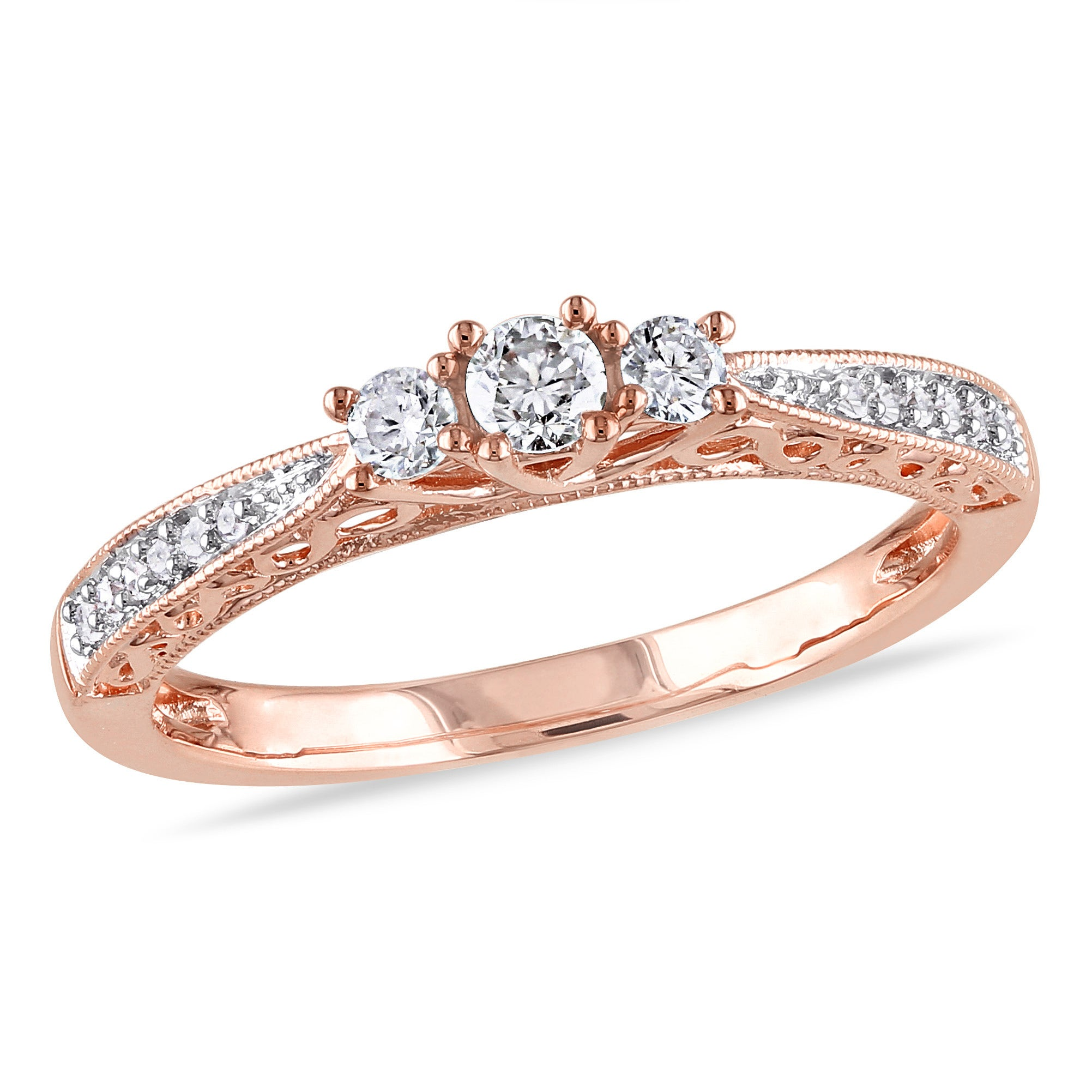 3 Diamond Promise Ring in 14K Pink Gold 1//10 cttw, Size-3.5 G-H,I2-I3