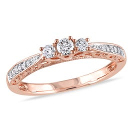 Round Cut Diamond 3-Stone Promise Ring 1/4ctw. in 10k Rose Gold