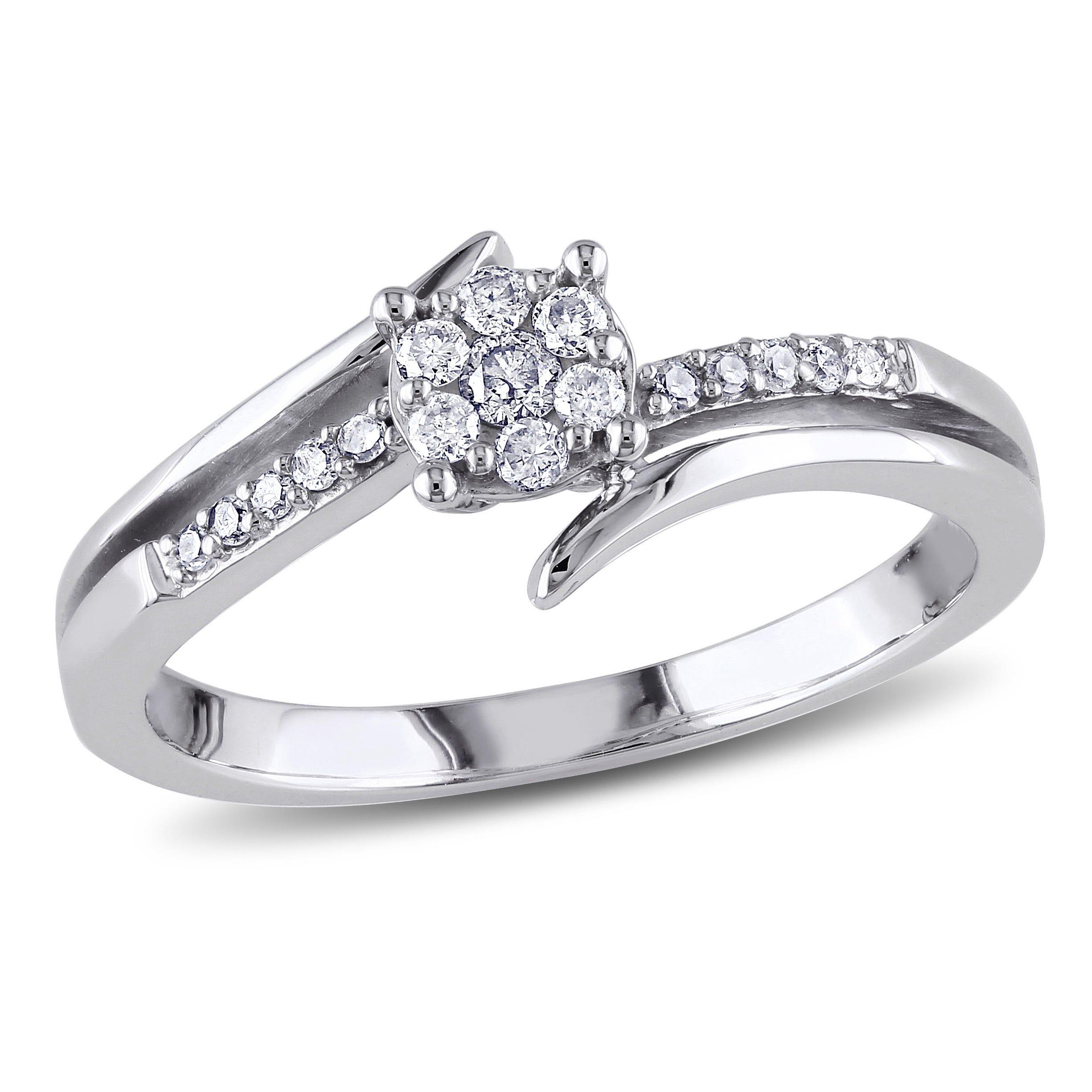 Round Cut Diamond Split Shank Promise Ring 1/5ctw. in 10k White Gold