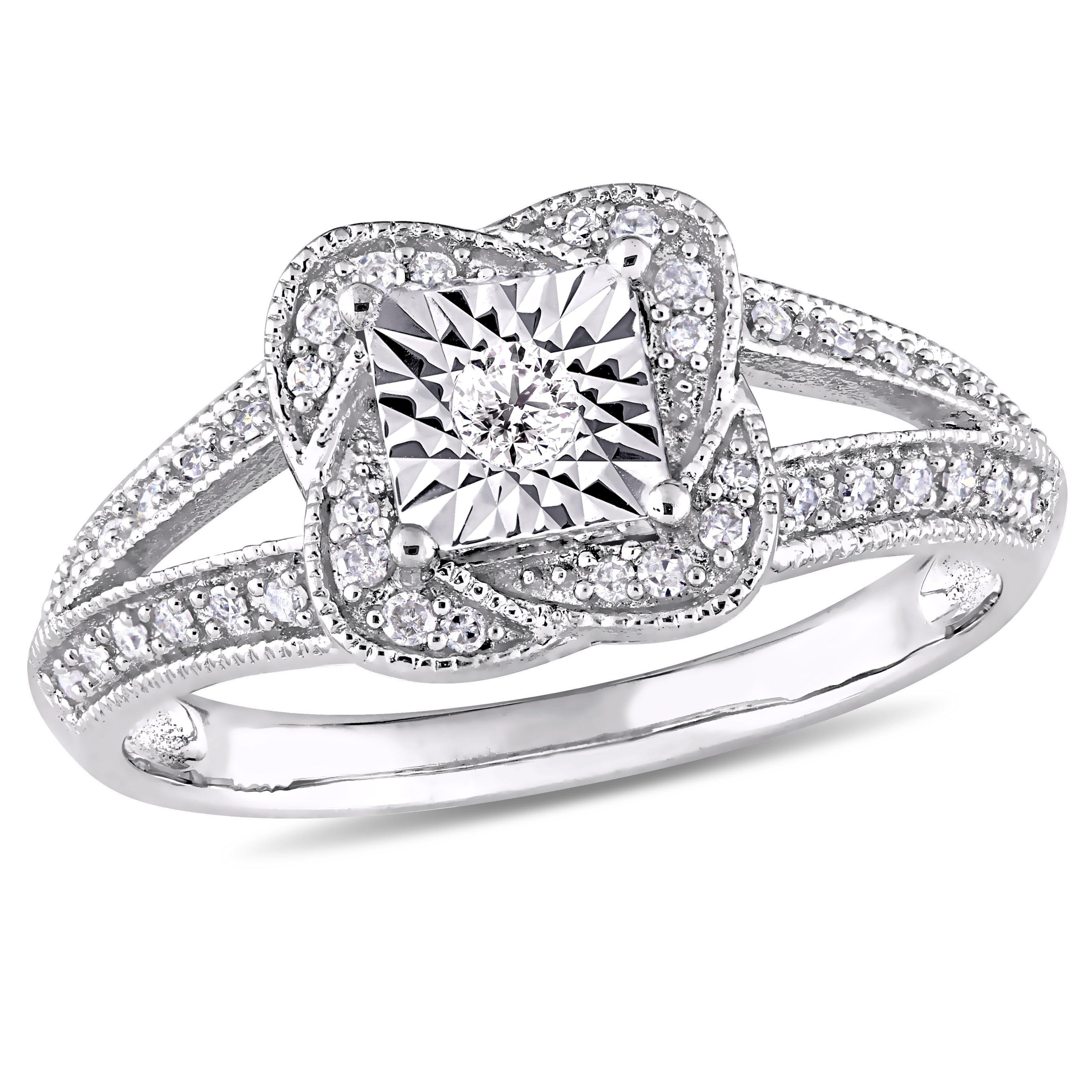Round Cut Diamond Vintage Split Shank Promise Ring 1/5ctw. in 10k White Gold