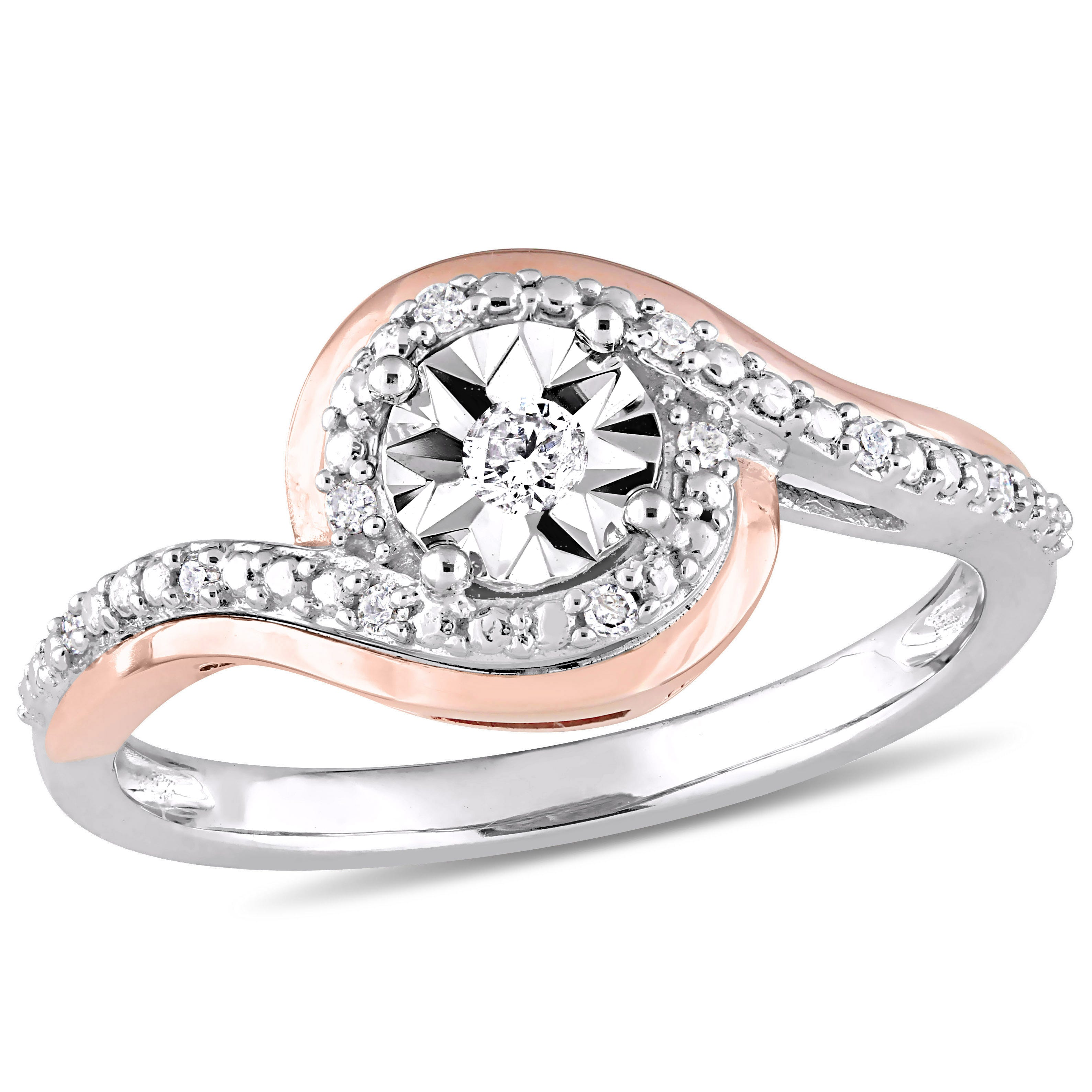 Round Cut Diamond Promise Ring 1/10ctw. in 10k White and Rose Gold