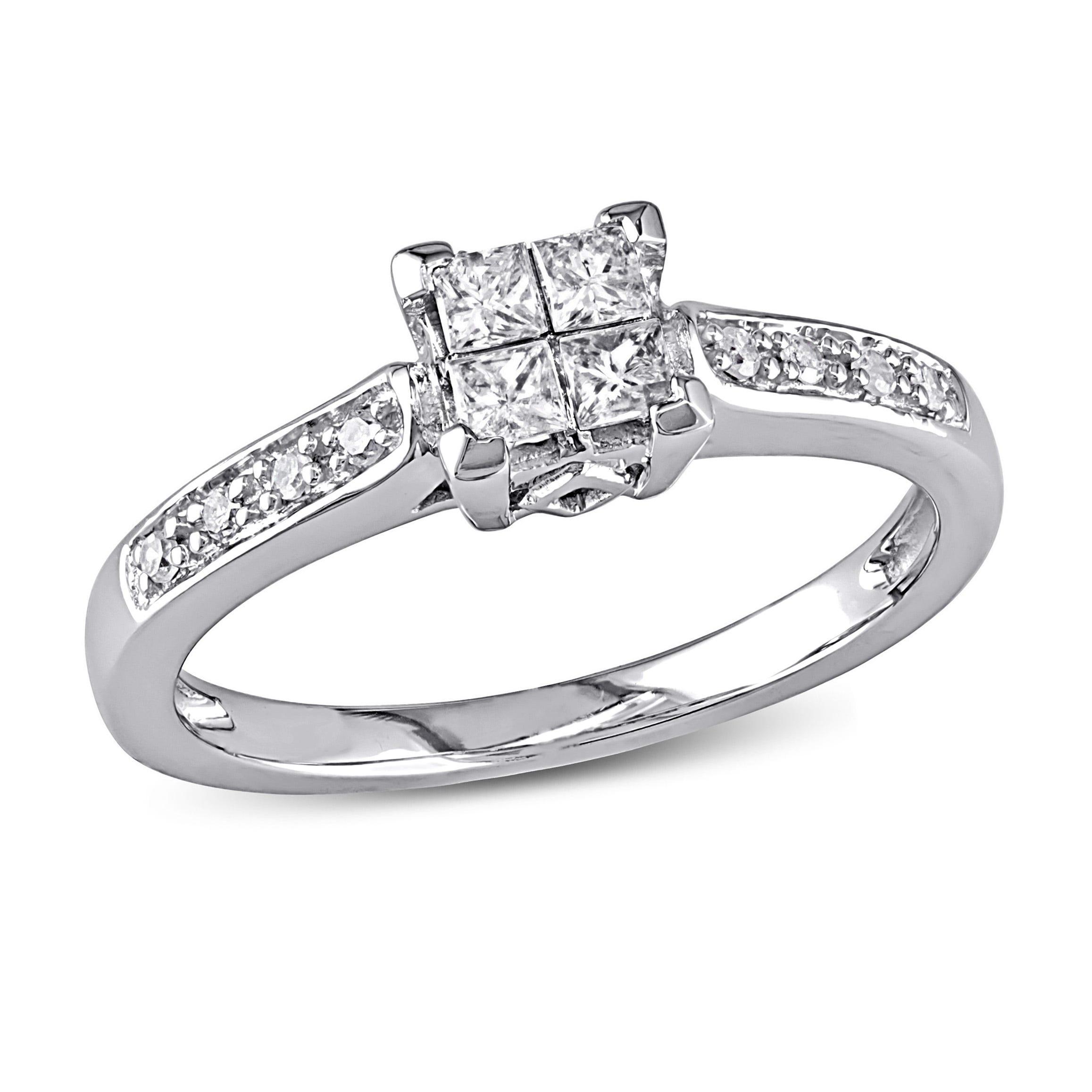 Princess & Round Cut White Diamond Promise Ring 1/4ctw. in 10k White Gold