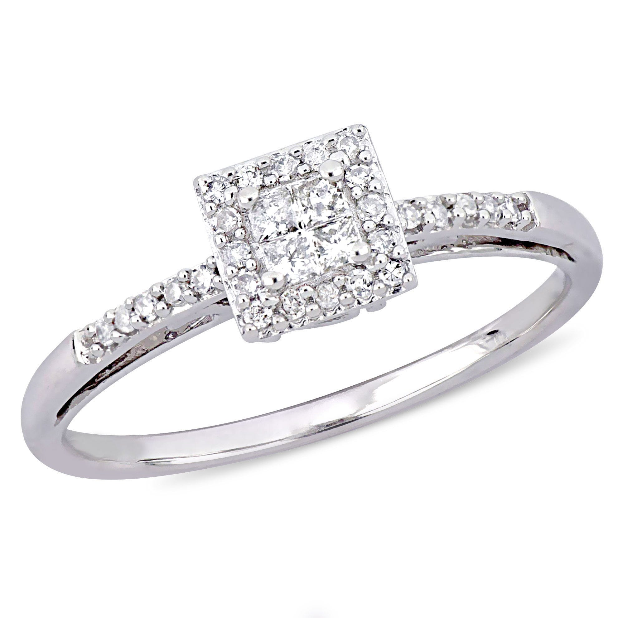 Princess & Round Cut Diamond Halo Promise Ring 1/5ctw. in 10k White Gold