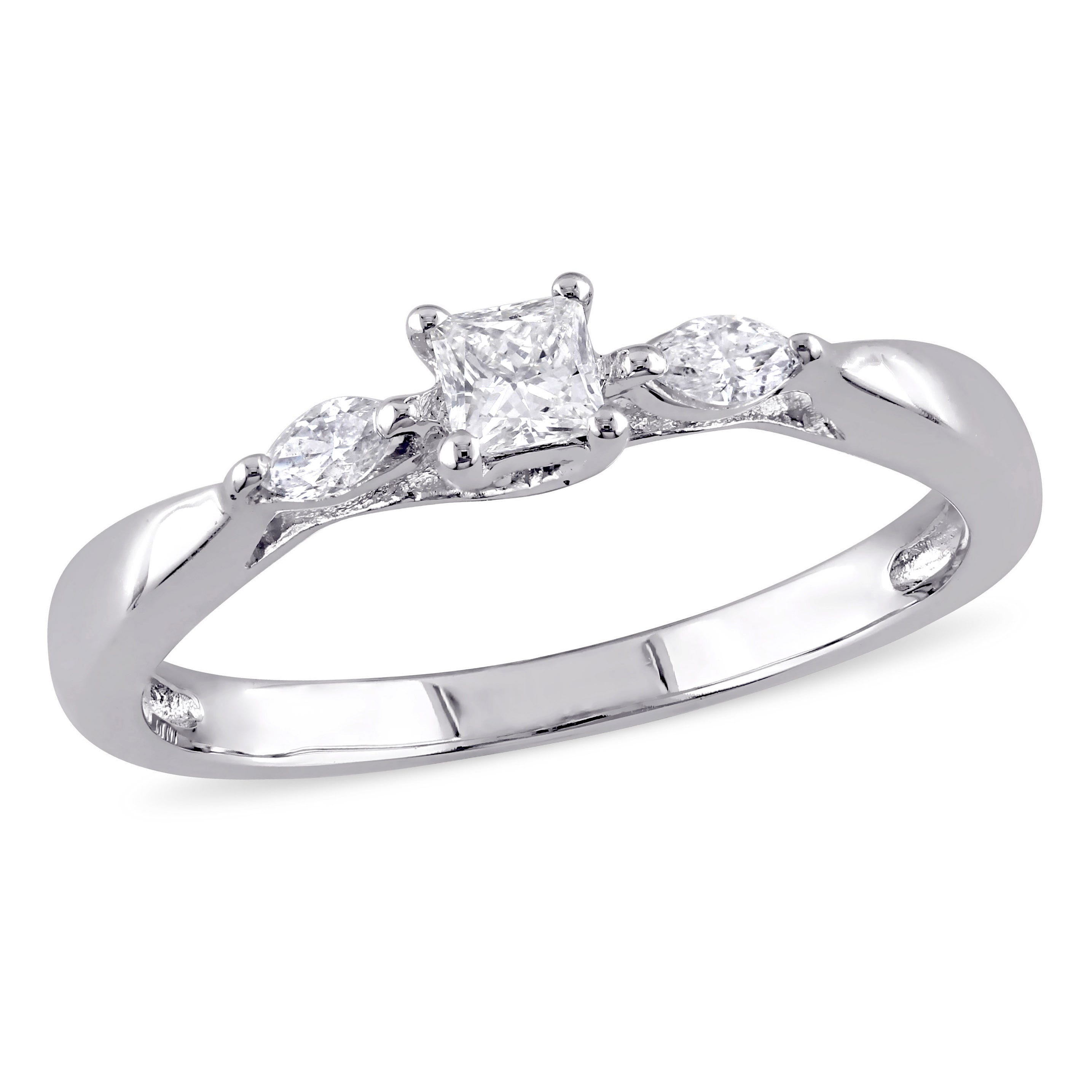 Princess & Marquise Cut Diamond Promise Ring 1/4ctw. in 10k White Gold