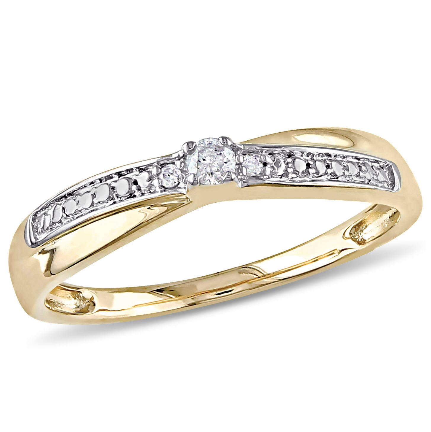 Round Cut Diamond Promise Ring .05ctw. in 10k Yellow Gold