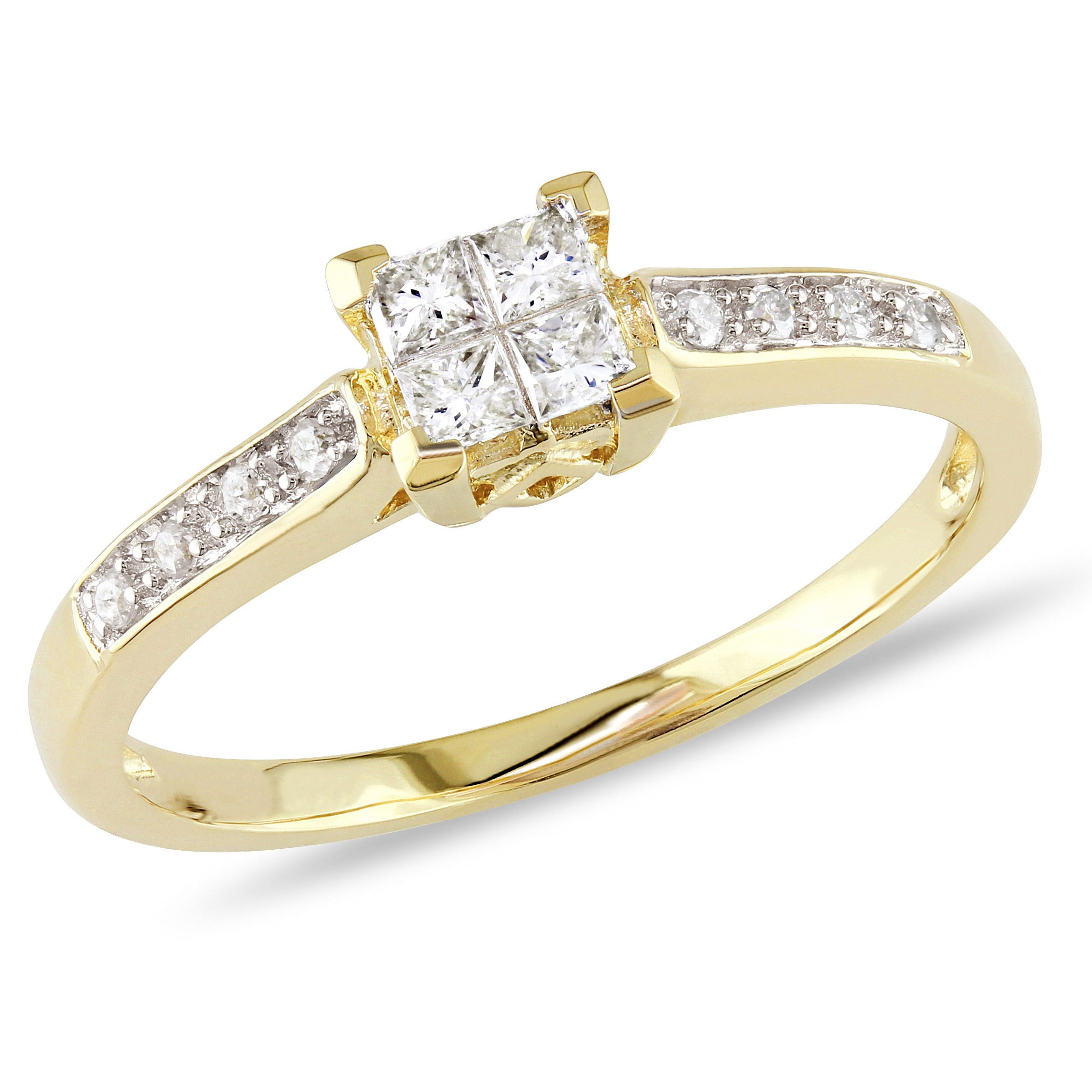 Princess & Round Cut Diamond Promise Ring 1/4ctw. in 10k Yellow Gold