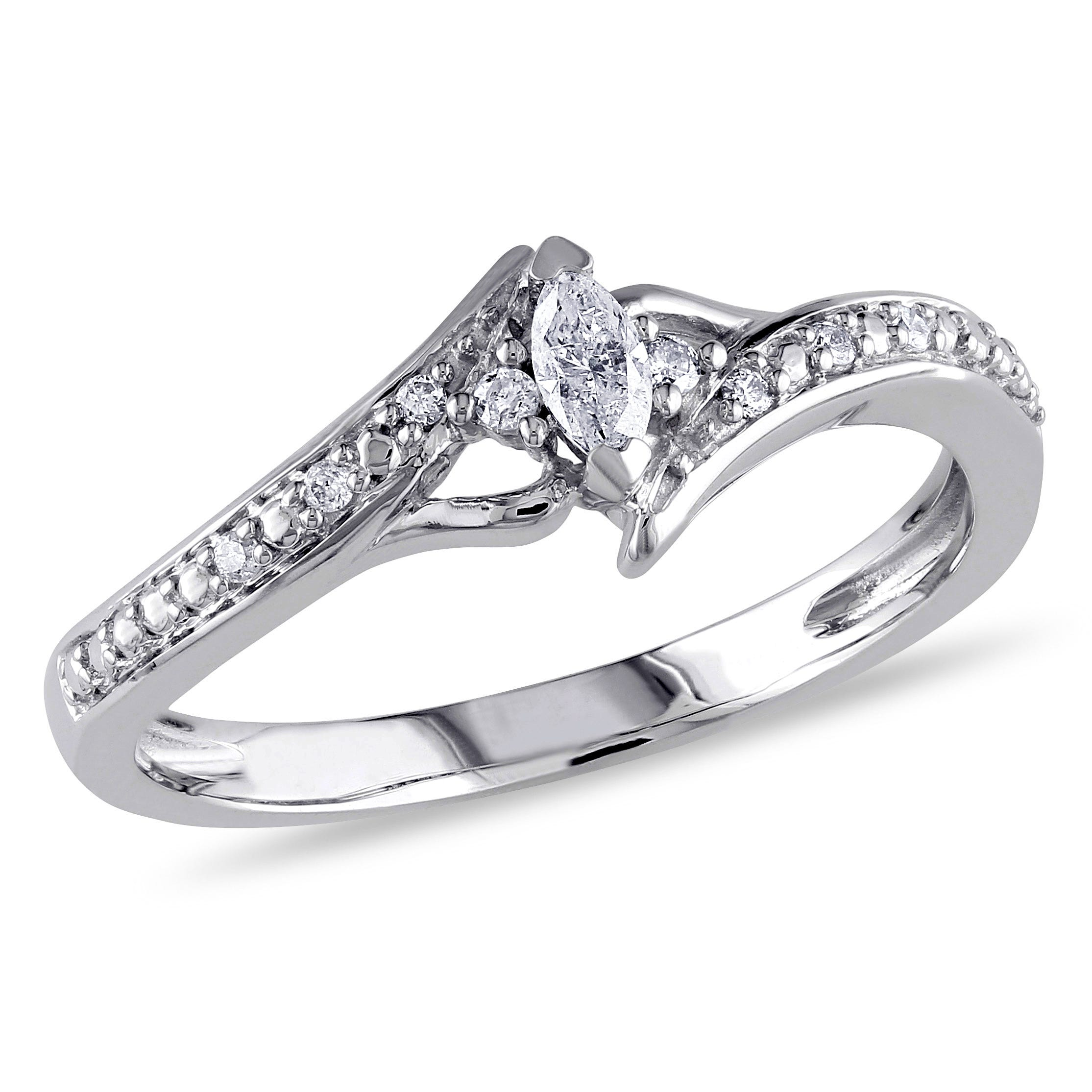 Marquise & Round Cut Diamond Promise Ring 1/6ctw. in 10k White Gold