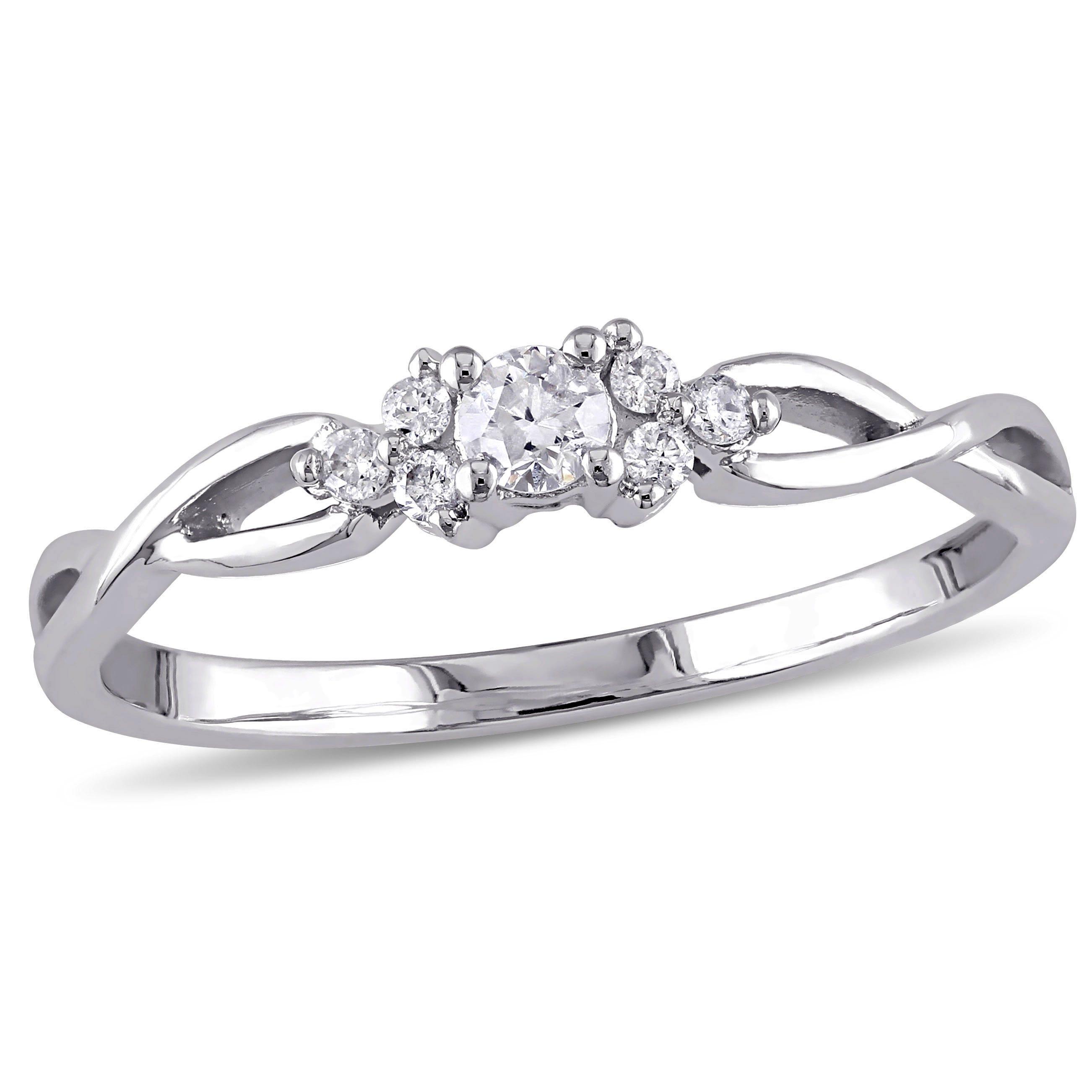 Round Cut Diamond Trillium Infinity Promise Ring 1/6ctw. in 10k White Gold