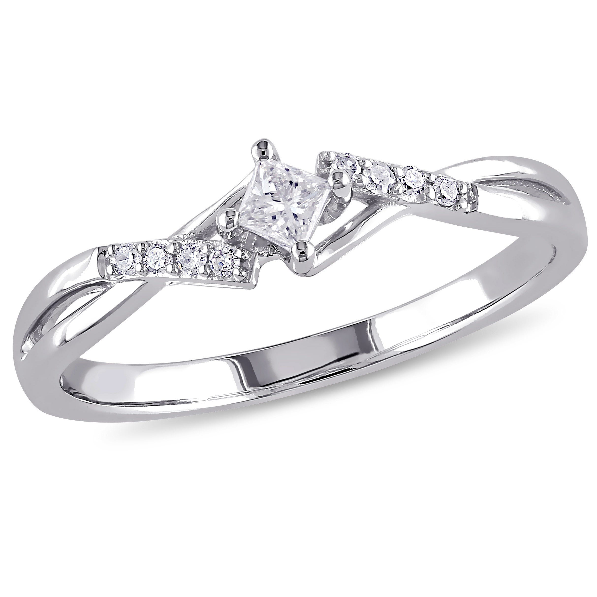 Princess & Round Cut Diamond Promise Ring 1/7ctw. in 10k White Gold