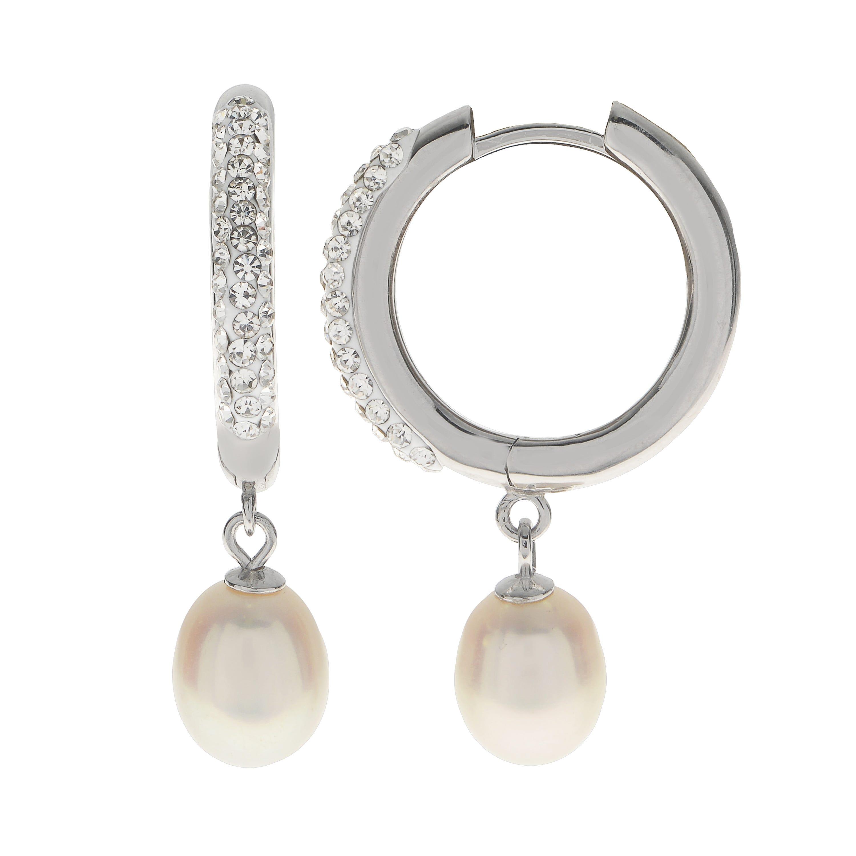 Imperial Pearl Freshwater Pearl & Crystal Circle Drop Earrings in Sterling Silver