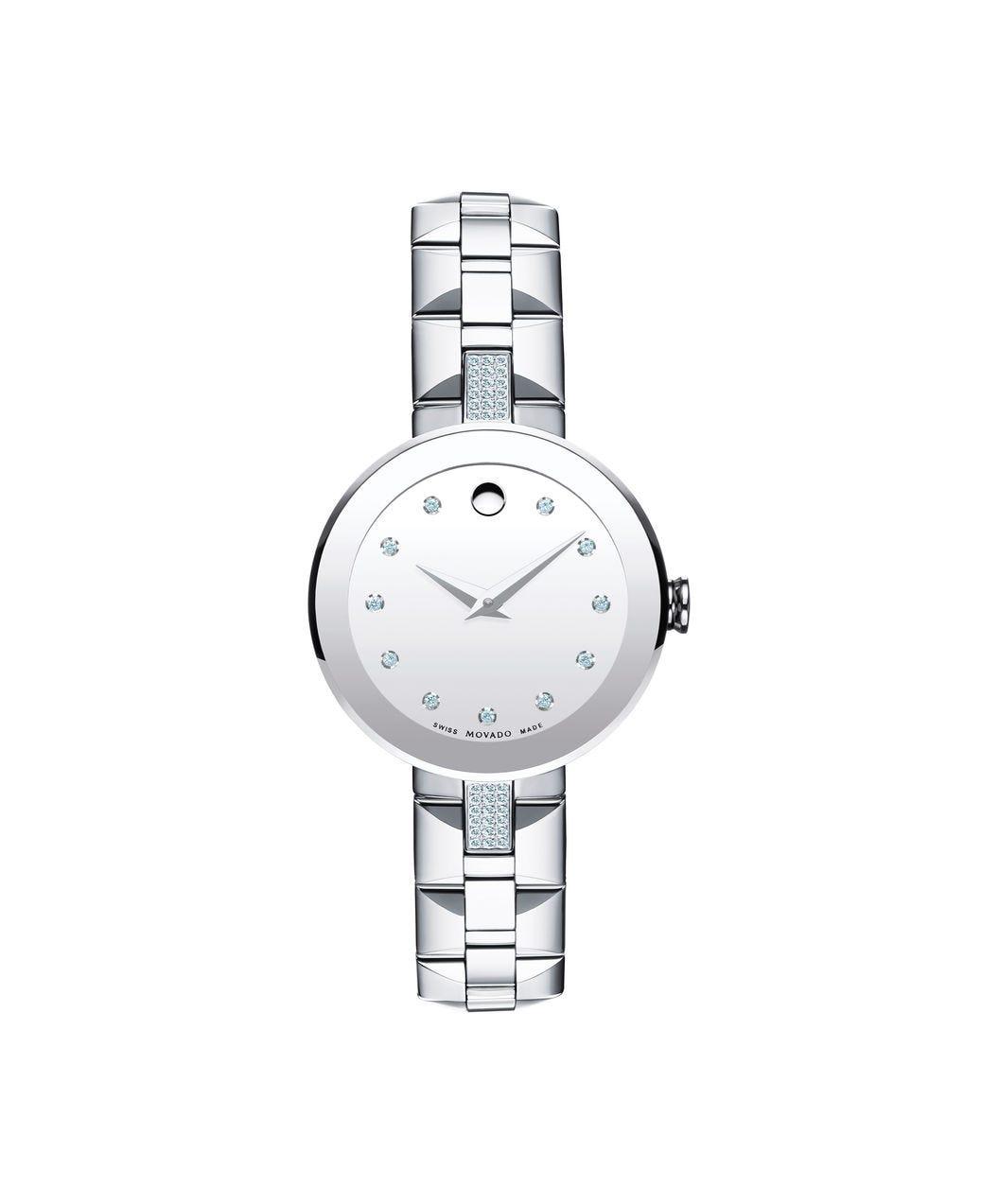 Movado Sapphire Silver Mirror Diamond Dial Ladies Watch 0607193