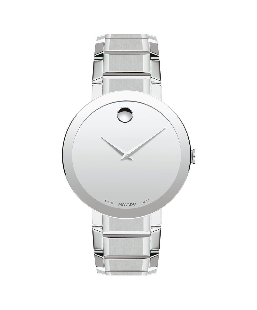 Movado Sapphire Silver Mirror Dial Men's Watch 0607178