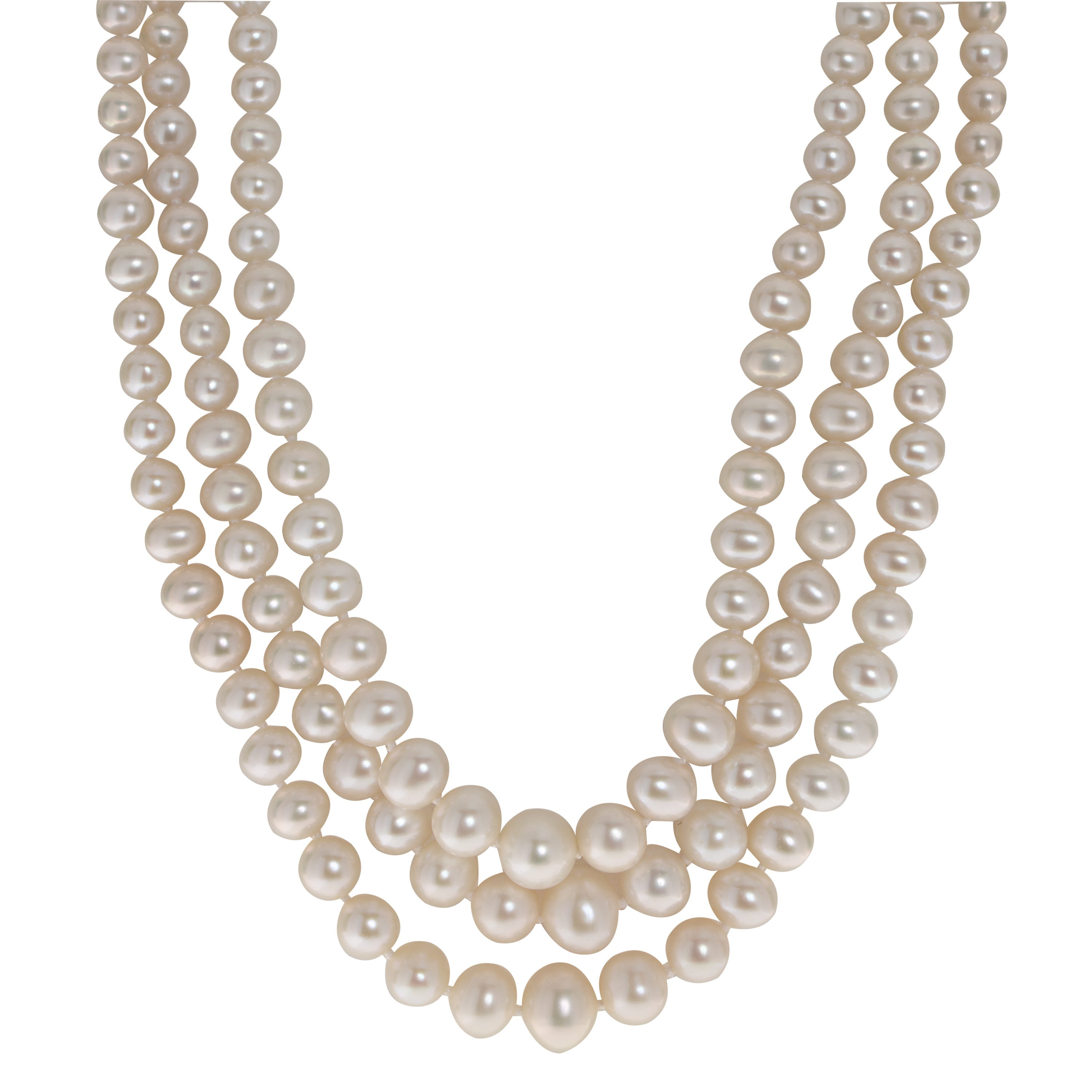 Imperial Pearl Graduated 3-Strand Freshwater Pearl Necklace