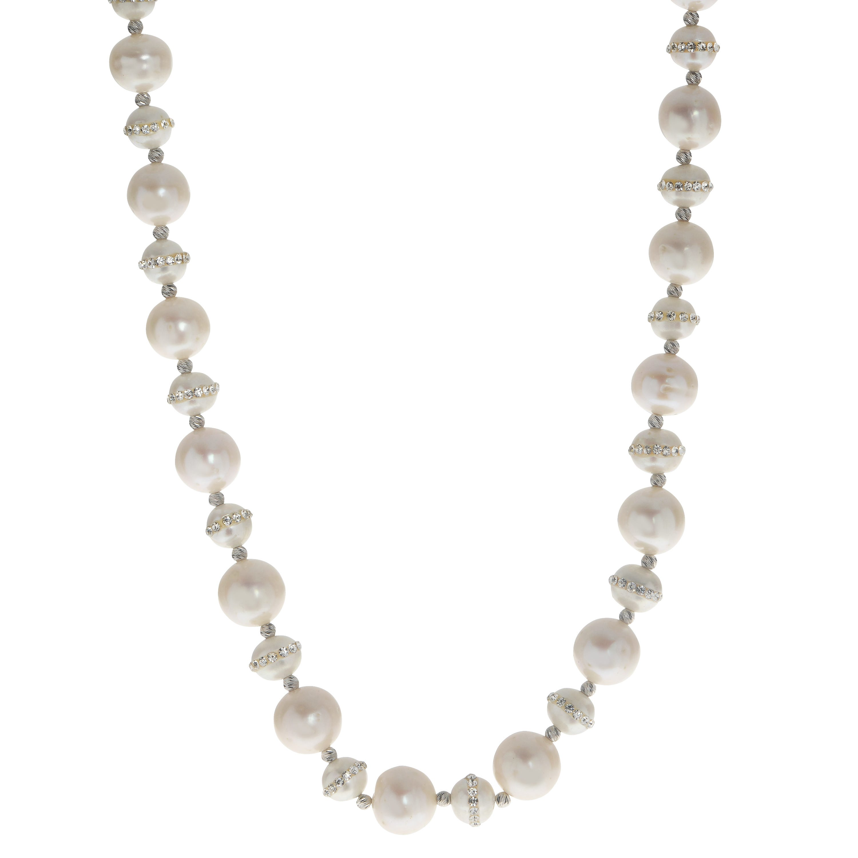 Imperial Pearl Crystal Halo Freshwater Pearl Necklace