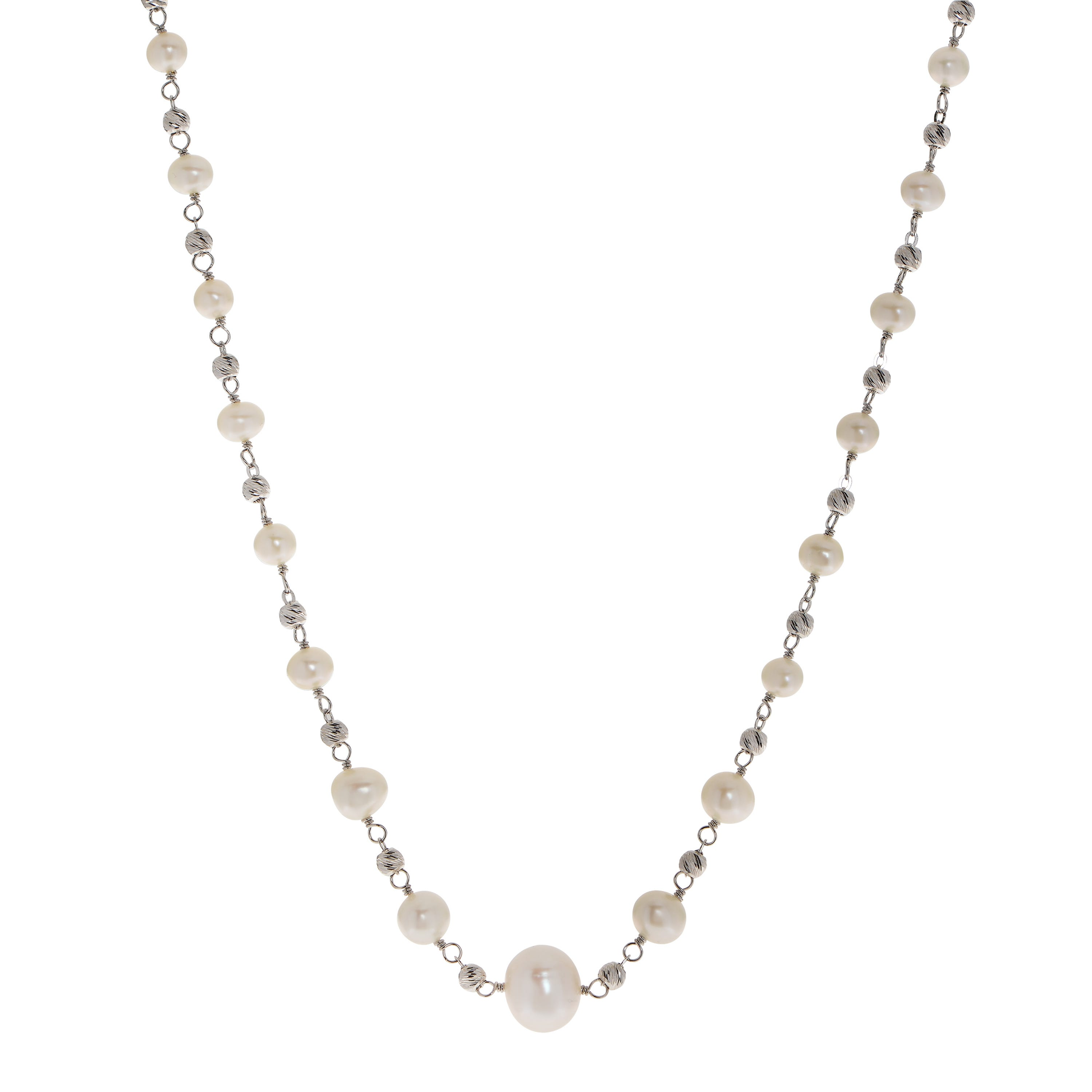 Imperial Pearl Silver Bead Graduated Freshwater Pearl Necklace