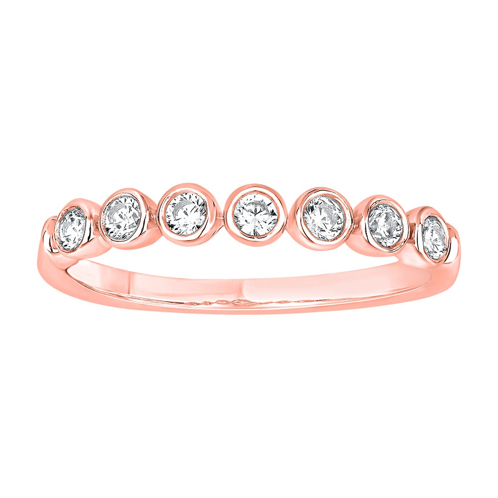 Diamond Stackable Bezel Set Band in 14k Rose Gold