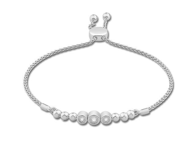 Diamond 0.10ctw Bezel Bolo Bracelet in Sterling Silver