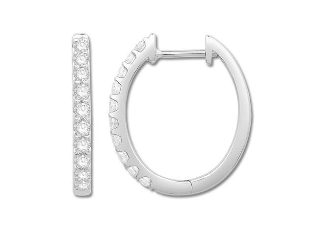 Oval 0.50ctw Diamond Hoop Earrings in 10k White Gold