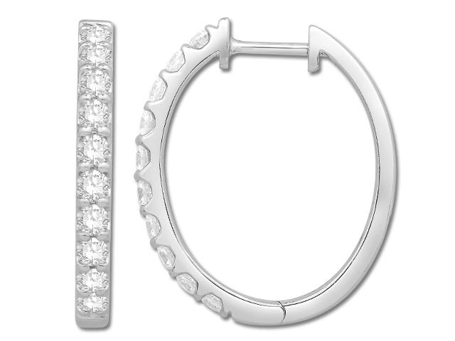 Classic 1ctw Diamond Oval Hoop Earrings in 10k White Gold
