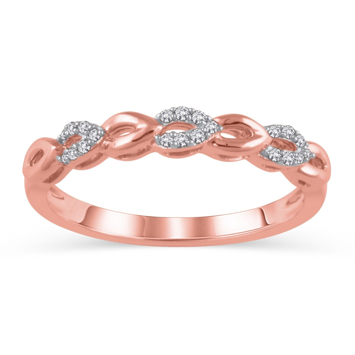 Diamond Stackable Open Loop Band in 14k Rose Gold
