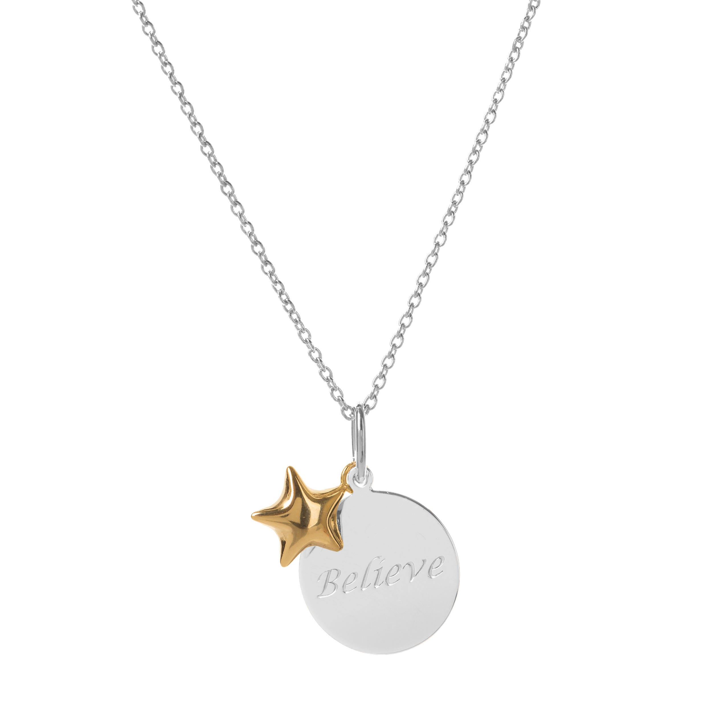 Believe Disc & Star Charm Pendant in Sterling Silver & 14k Gold