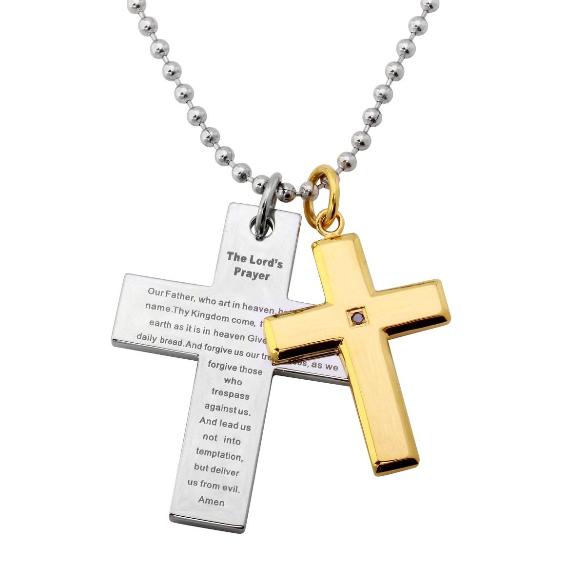 Men's Double Cross Lord's Prayer 0.15ctw Black Diamond Pendant in Stainless Steel