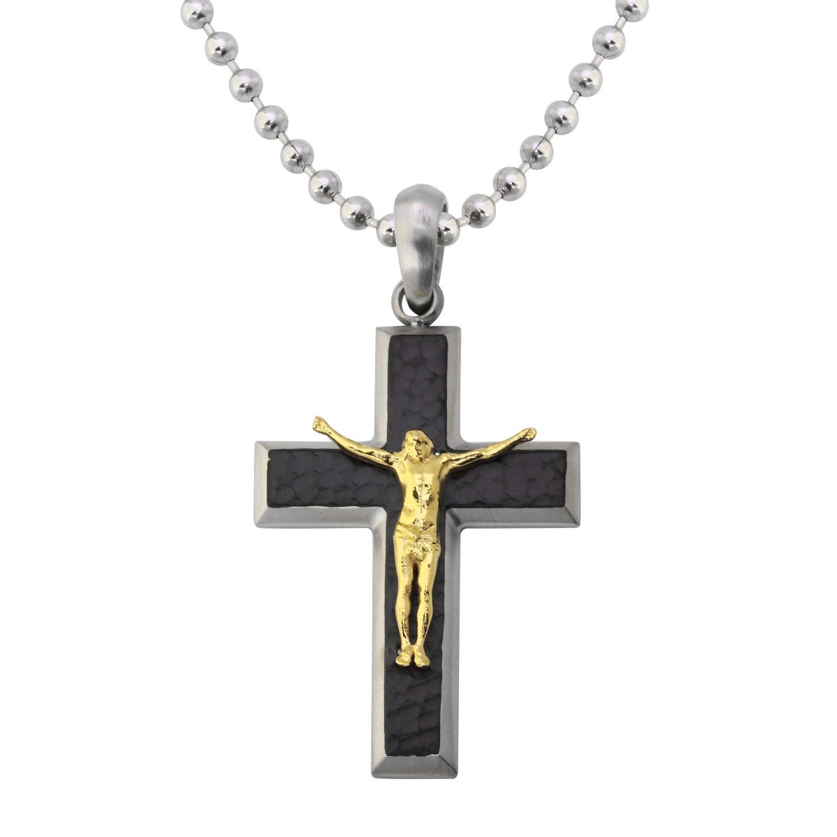 Men's Crucifix Pendant & Bead Chain Necklace in Stainless Steel