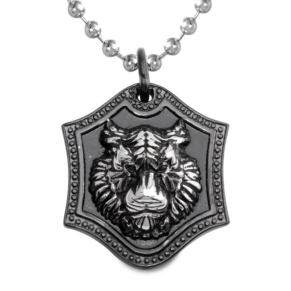 Men's Antique Finish Lion Shield Pendant in Stainless Steel