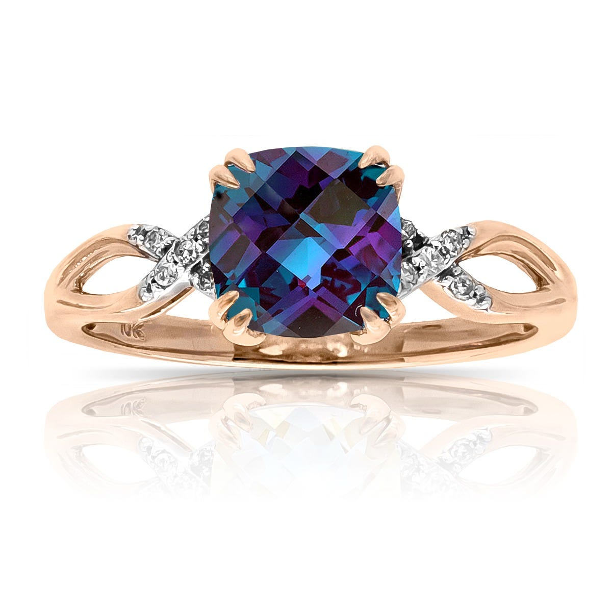Cushion Created Alexandrite & Diamond Ring in 10k Rose Gold