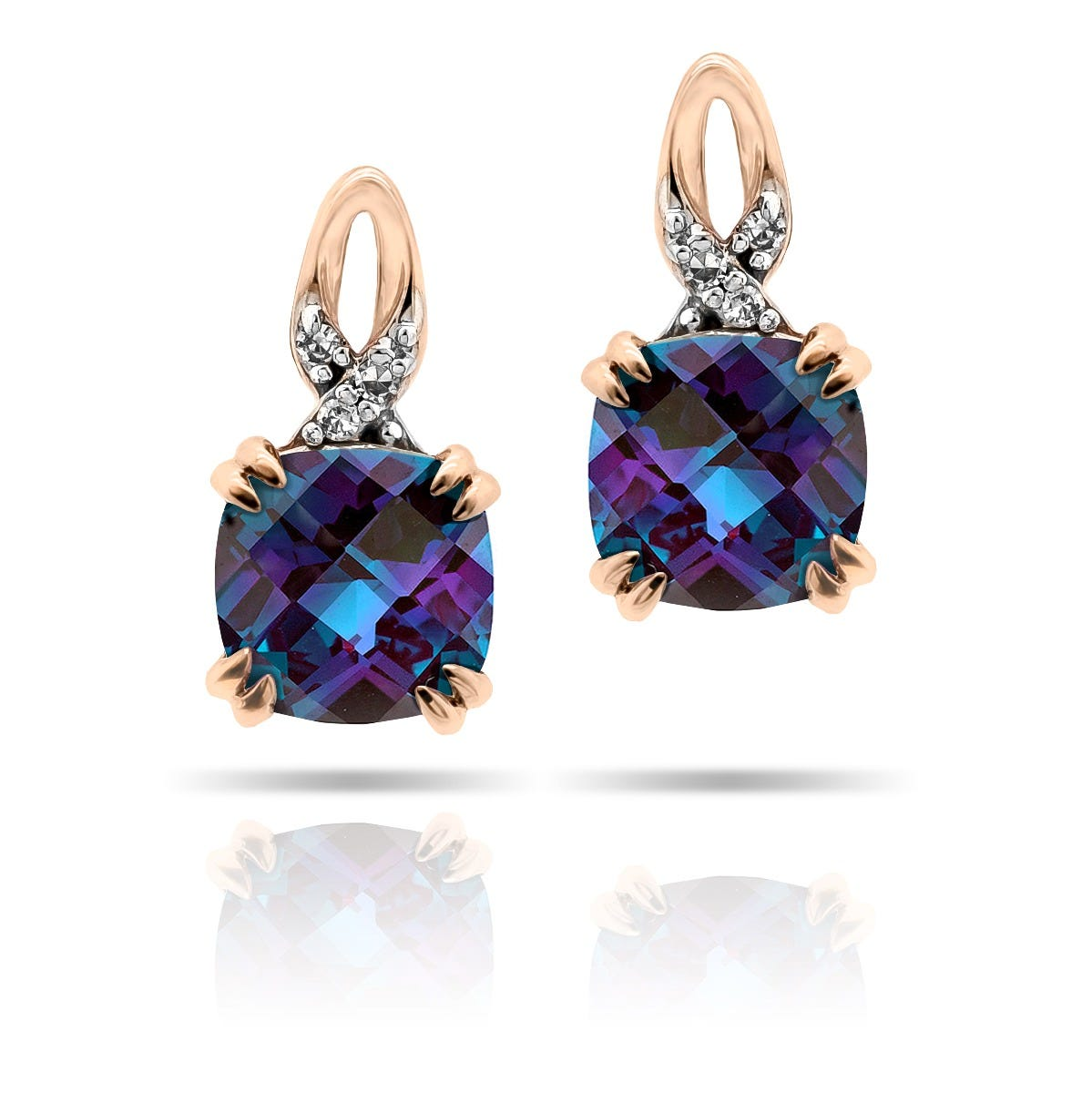 Cushion Created Alexandrite & Diamond Drop Earrings in 10k Rose Gold