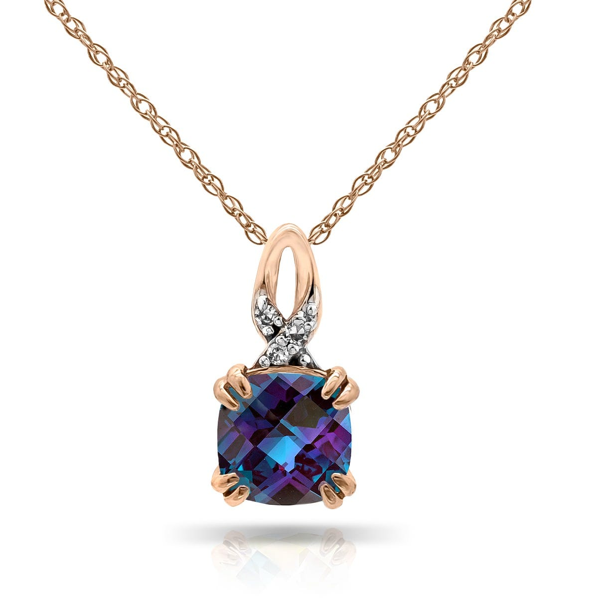 Cushion Created Alexandrite & Diamond Pendant in 10k Rose Gold