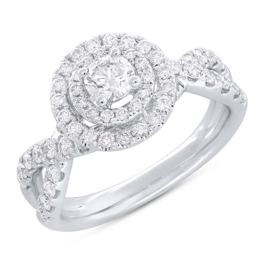 Shy Creation Diamond Double Halo Twist Engagement Ring in 14k White Gold