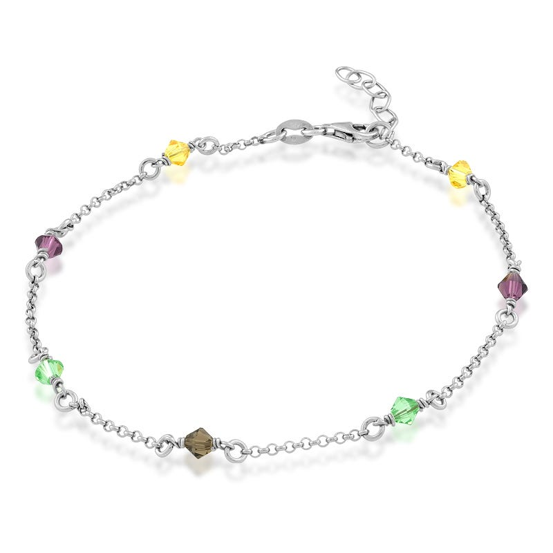 Rainbow Crystal Anklet in Sterling Silver
