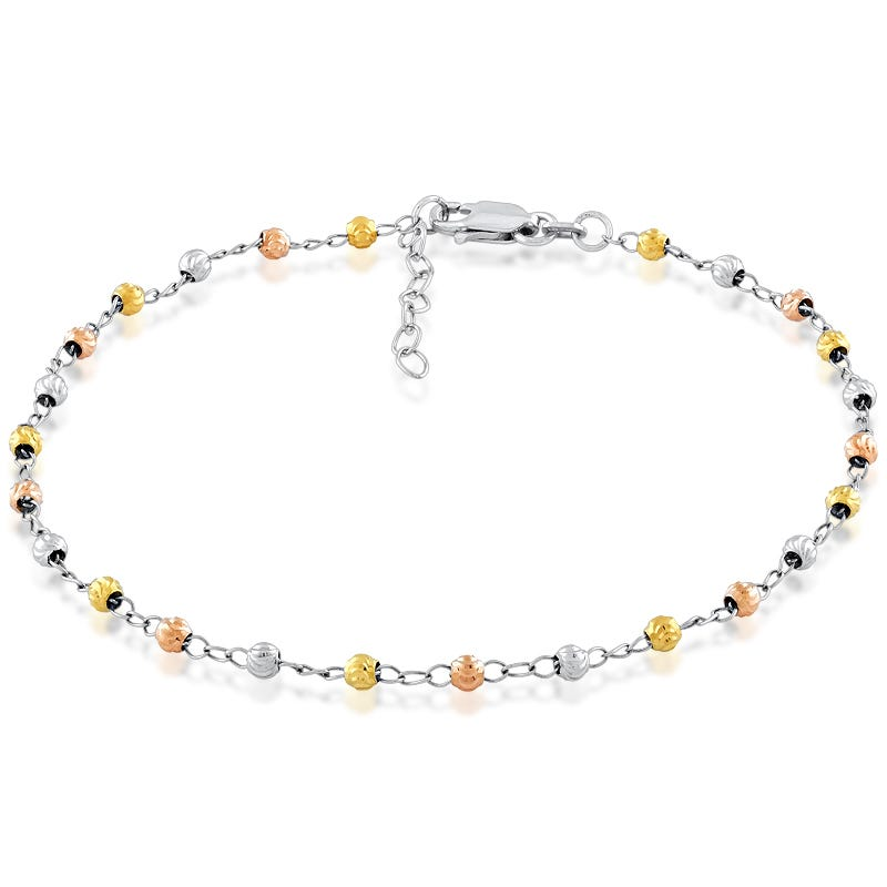 Tri-Color Beaded Anklet in Sterling Silver