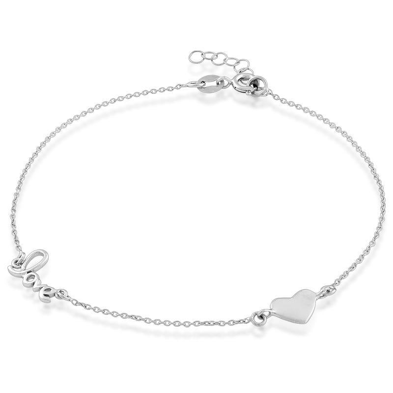 Love Script & Heart Plate Anklet in Sterling Silver