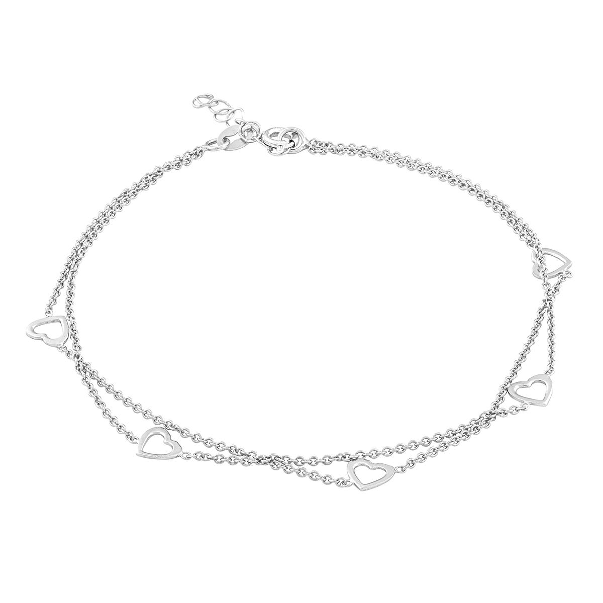 Open Hearts Double Strand Anklet in Sterling Silver