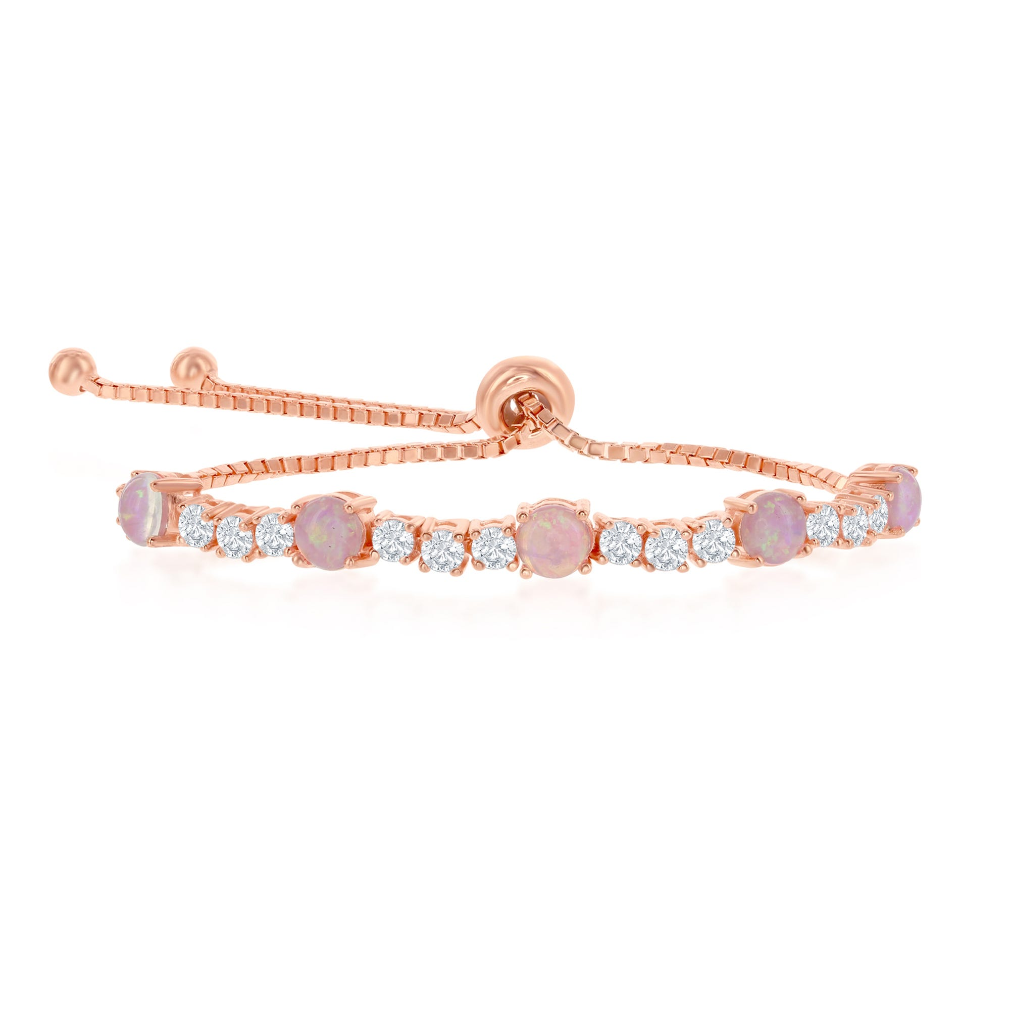 Pink Opal & Round Crystal Rose Plated Sterling Silver Bolo Bracelet