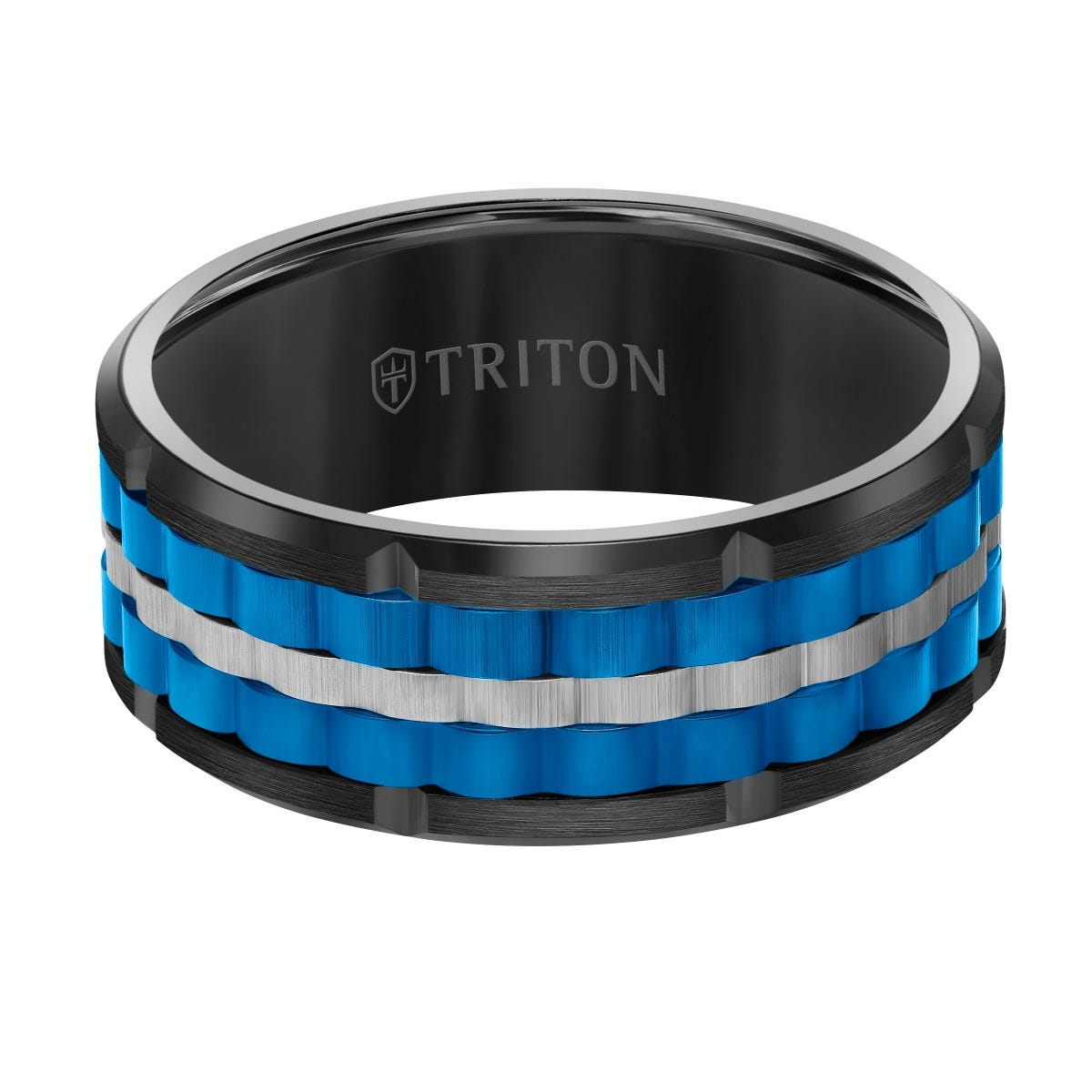 Triton Tungsten Double Blue, Black & Silver Weave Band